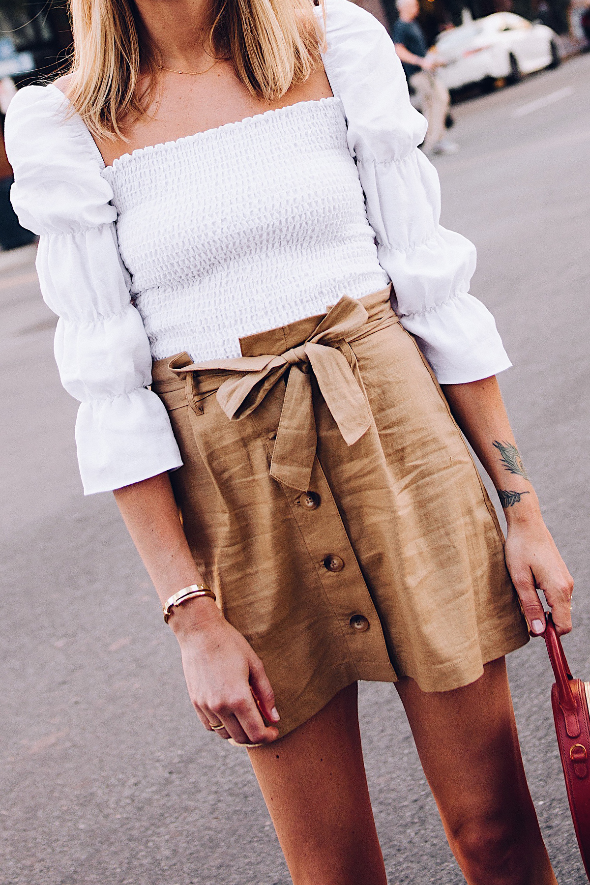 Woman Wearing Reformation White Smocked Top Topshop Khaki Button Front Skirt Fashion Jackson San Diego Blogger Fashion Blogger Street Style
