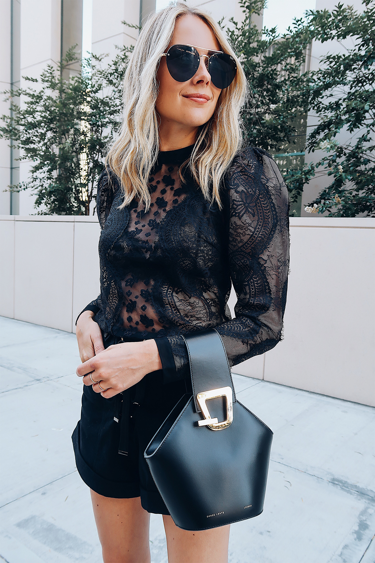Blonde Woman Wearing Self Portrait Black Lace Top Black Shorts Danse Lente Black Bucket Bag Aviator Sunglasses Fashion Jackson San Diego Blogger Fashion Blogger Street Style