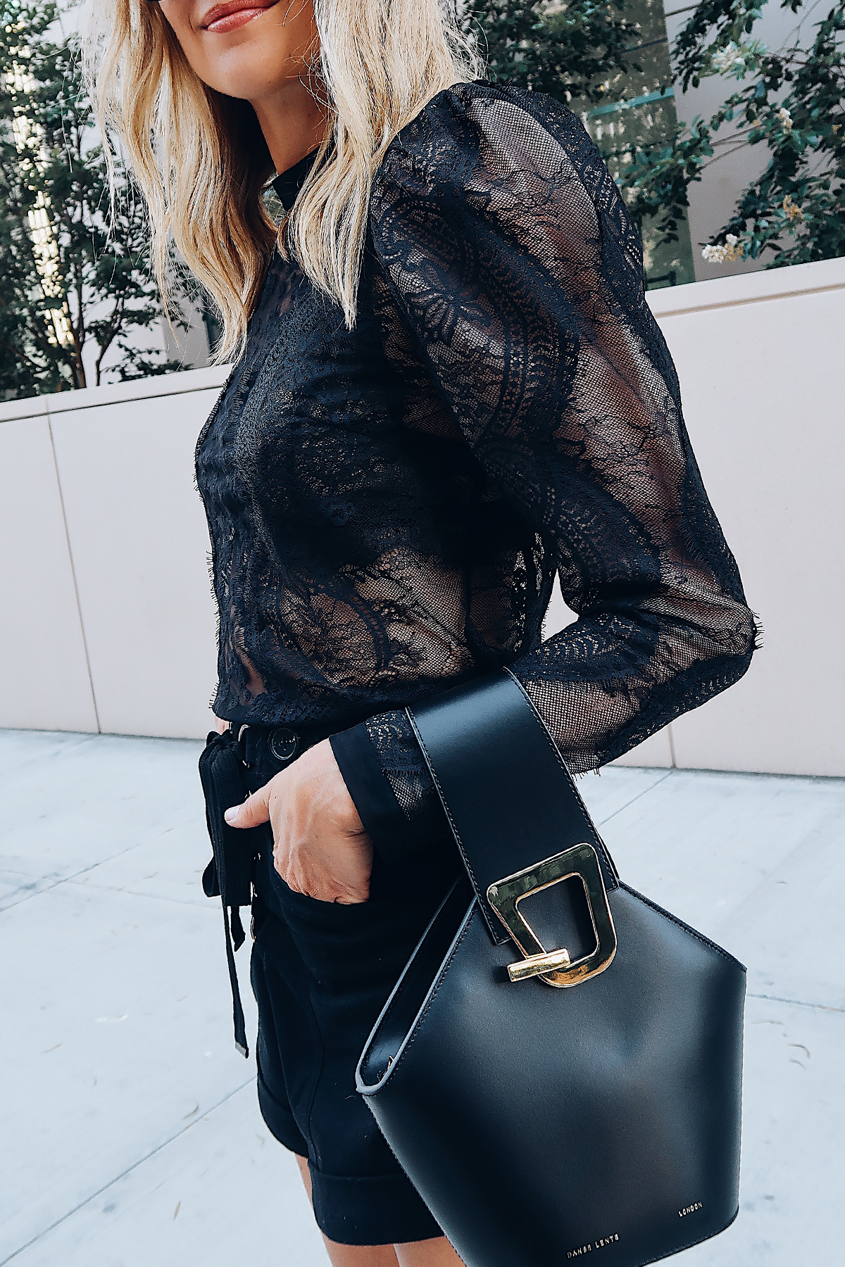 Blonde Woman Wearing Self Portrait Black Lace Top Danse Lente Black Bucket Bag Fashion Jackson San Diego Blogger Fashion Blogger Street Style