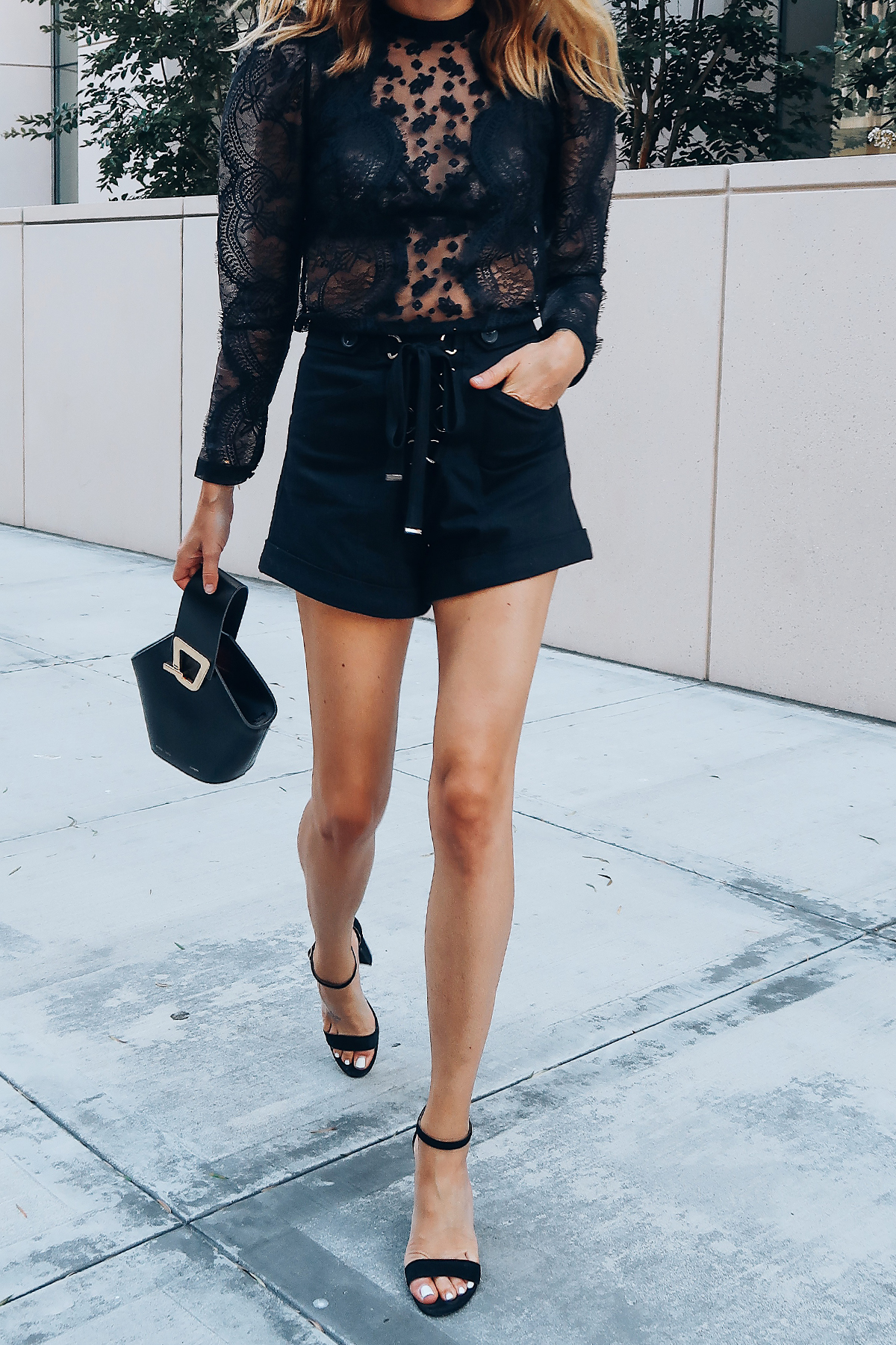 Woman Wearing Self Portrait Black Lace Top Self Portrait Black Lace Up Shorts Black Ankle Strap Heels Danse Lente Black Bucket Bag Fashion Jackson San Diego Blogger Fashion Blogger Street Style