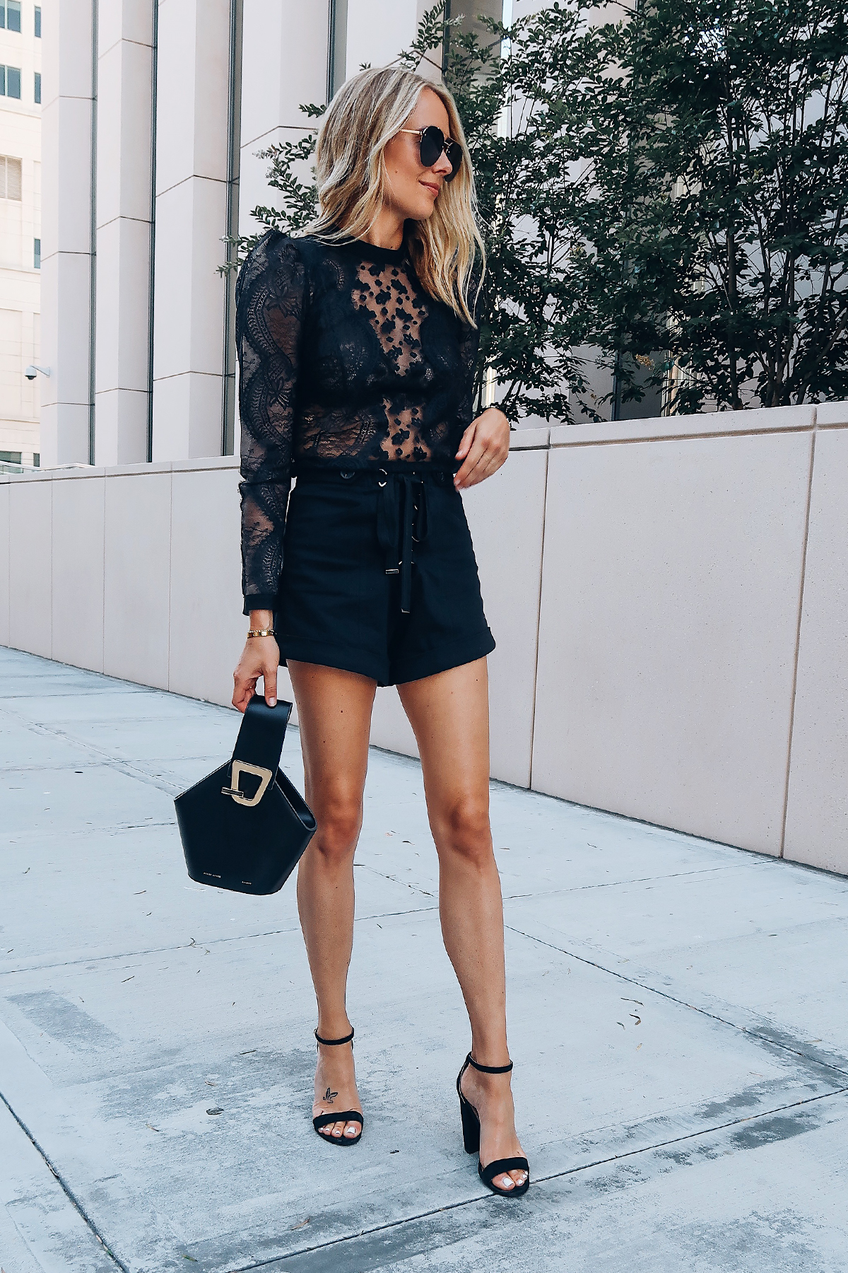 Blonde Woman Wearing Self Portrait Black Lace Top Self Portrait Black Lace Up Shorts Danse Lente Black Bucket Bag Black Ankle Strap Heels Aviator Sunglasses Fashion Jackson San Diego Blogger Fashion Blogger Street Style
