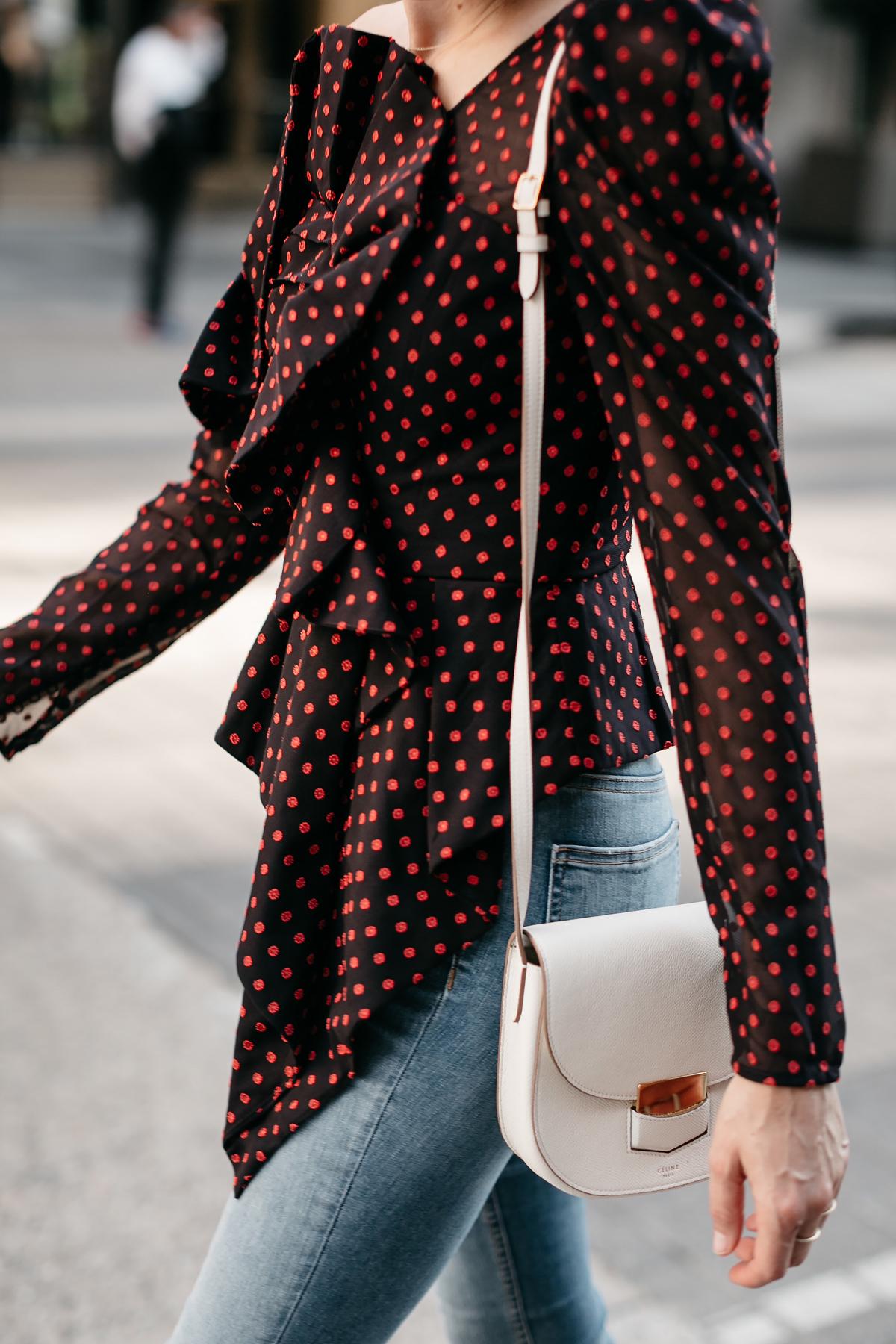 Woman Wearing Self Portrait One-shoulder Embroidered Top Celine White Trotteur Fashion Jackson Dallas Blogger Fashion Blogger Street Style
