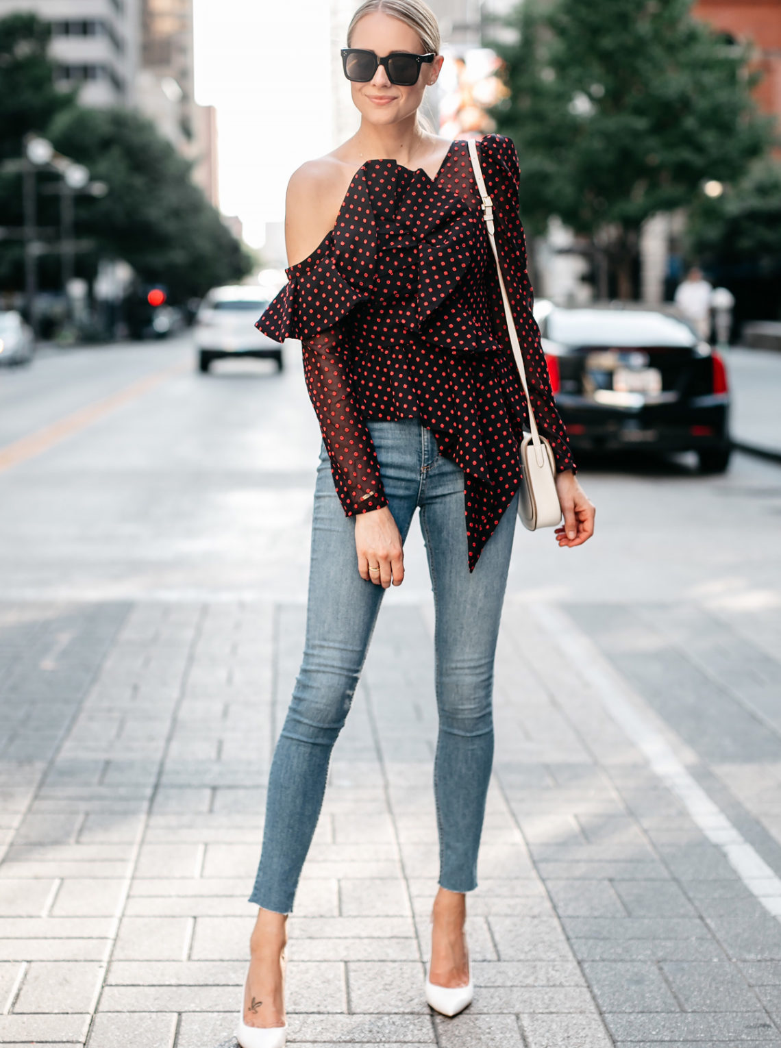 Blonde Woman Wearing Self Portrait One-shoulder Embroidered Top rag and bone Denim Skinny Jeans Gianvito Rossi White Slingback Pumps Fashion Jackson Dallas Blogger Fashion Blogger Street Style