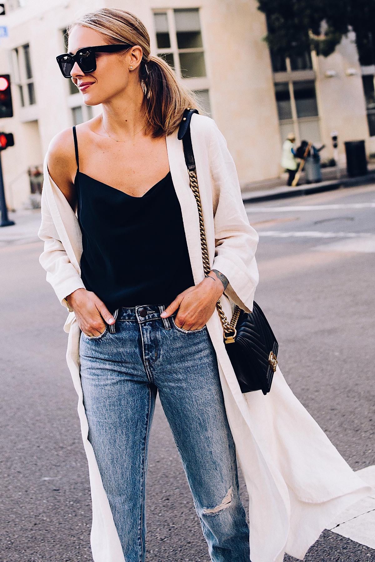 Blonde Woman Wearing Topshop Black Cami Denim Ripped Mom Jeans Beige Linen Kimono Celine Aviator Sunglasses Chanel Black Boy Bag Fashion Jackson San Diego Blogger Fashion Blogger Street Style