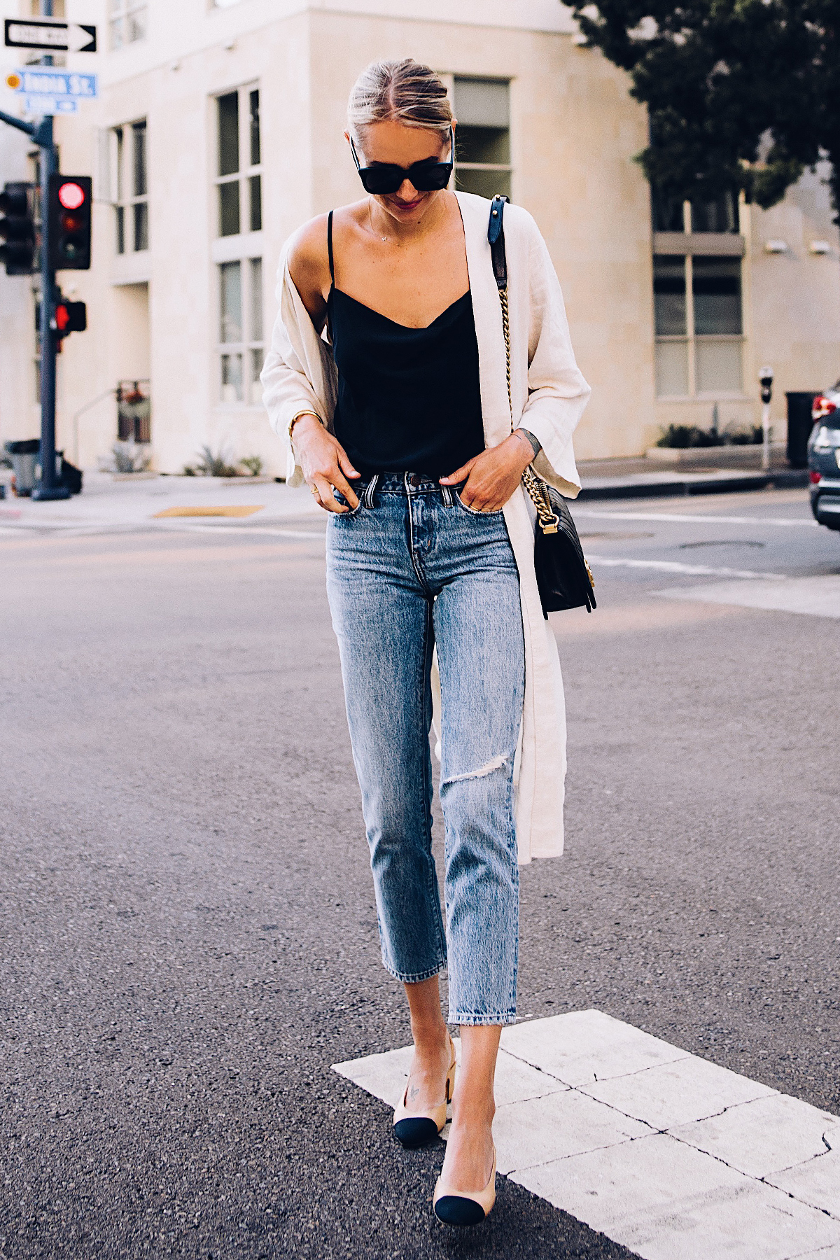 Blonde Woman Wearing Topshop Black Cami Denim Ripped Mom Jeans Beige Linen Kimono Chanel Slingback Heels Fashion Jackson San Diego Blogger Fashion Blogger Street Style