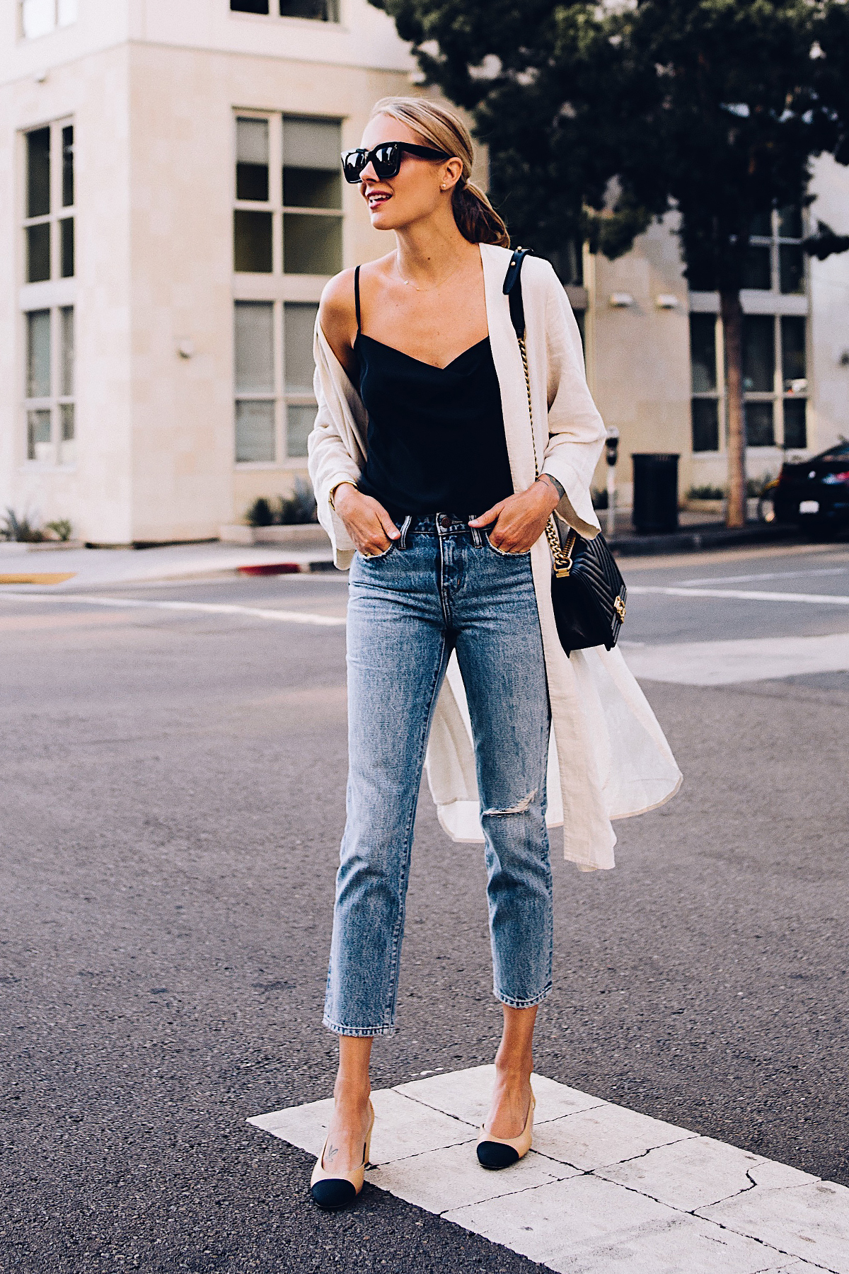 Blonde Woman Wearing Topshop Black Cami Denim Ripped Mom Jeans Beige Linen Kimono Chanel Slingback Heels Chanel Black Boy Bag Fashion Jackson San Diego Blogger Fashion Blogger Street Style