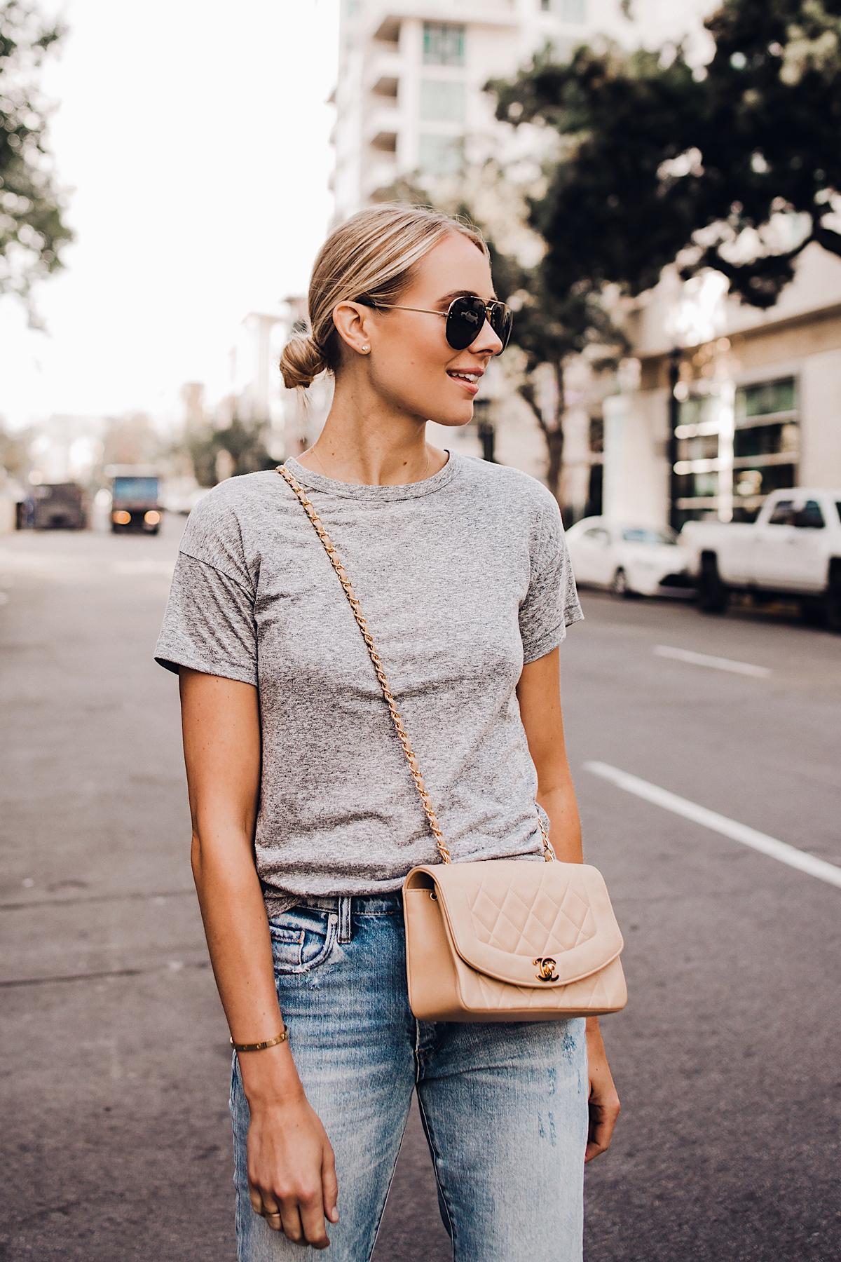 Blonde Woman Wearing Topshop Grey Tshirt Blanknyc Ripped Jeans Chanel Quilted Tan Handbag Celine Aviator Sunglasses Fashion Jackson San Diego Blogger Fashion Blogger Street Style