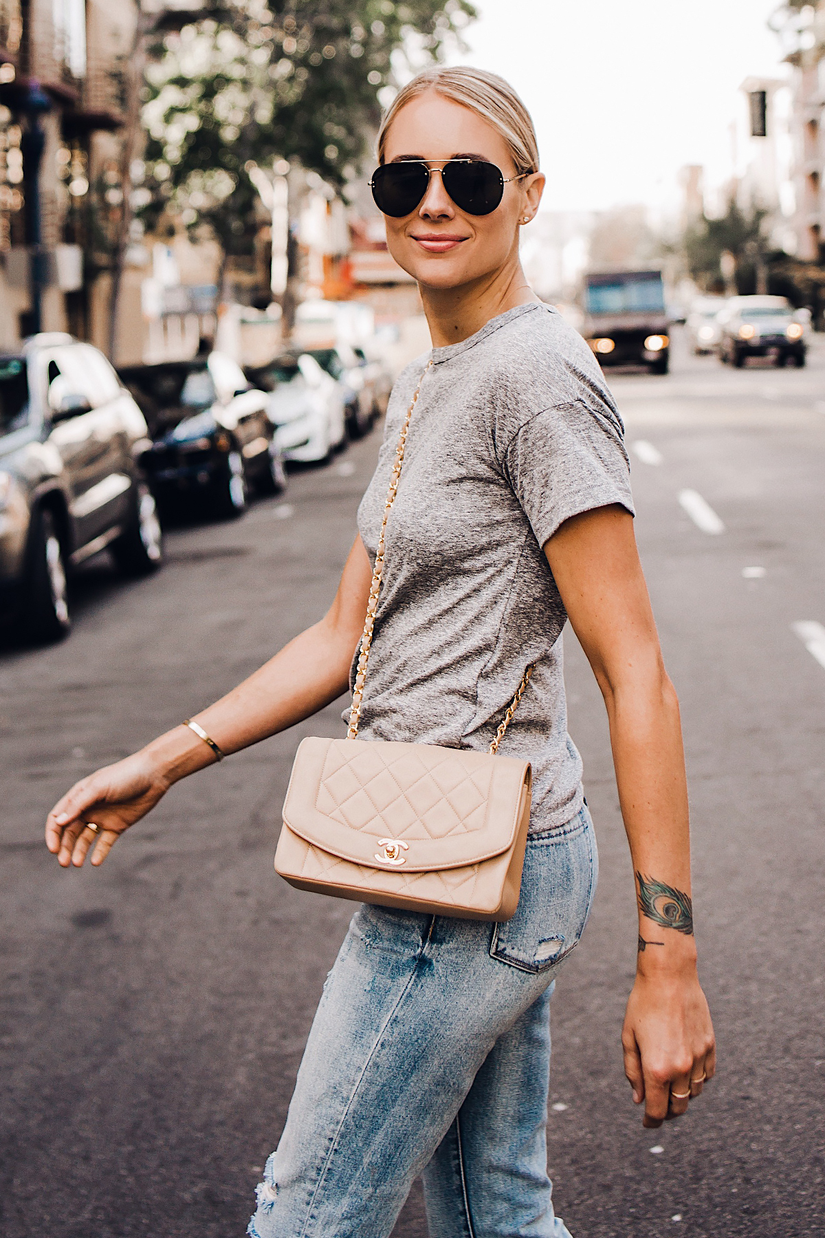Blonde Woman Wearing Topshop Grey Tshirt Blanknyc Ripped Jeans Chanel Quilted Tan Handbag Celine Aviator Sunglasses Fashion Jackson San Diego Blogger Fashion Blogger Street Style