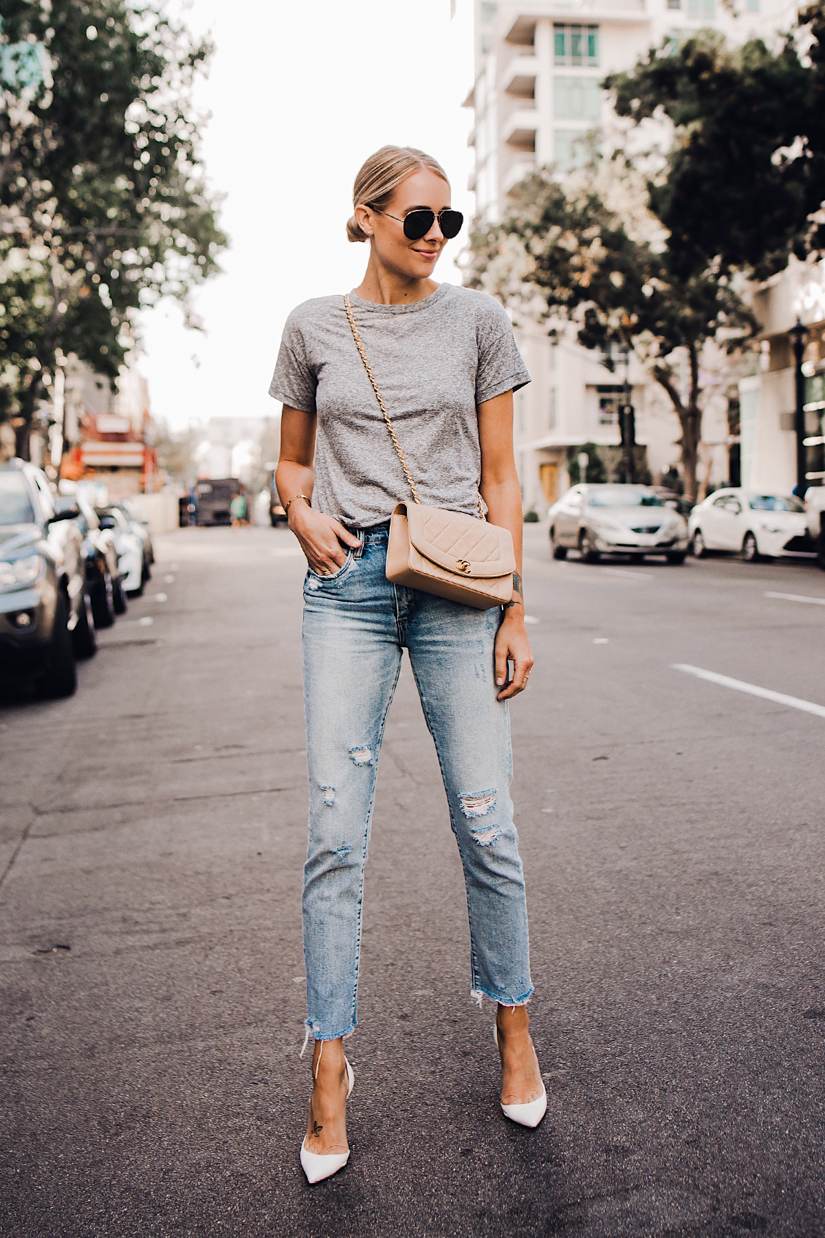 Blonde Woman Wearing Topshop Grey Tshirt Blanknyc Ripped Jeans Christian Louboutin White Pumps Chanel Quilted Tan Handbag Celine Aviator Sunglasses Fashion Jackson San Diego Blogger Fashion Blogger Street Style