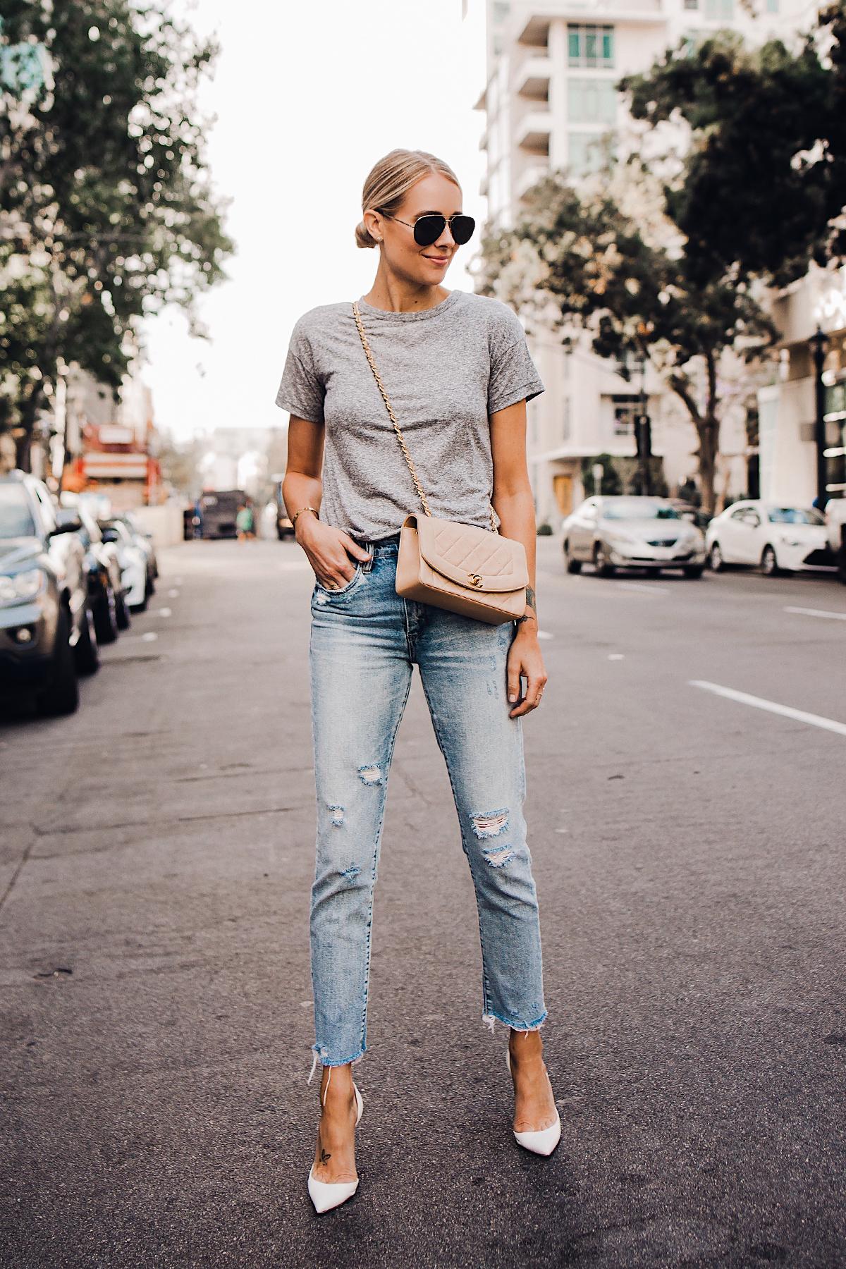 Blonde Woman Wearing Topshop Grey Tshirt Blanknyc Ripped Jeans Christian Louboutin White Pumps Chanel Quilted Tan Handbag Celine Aviator Sunglasses Fashion Jackson San Diego Blogger Fashion Blogger Street Style