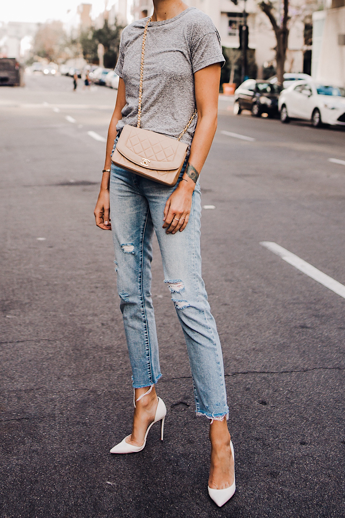 Woman Wearing Topshop Grey Tshirt Blanknyc Ripped Jeans Christian Louboutin White Pumps Chanel Quilted Tan Handbag Fashion Jackson San Diego Blogger Fashion Blogger Street Style