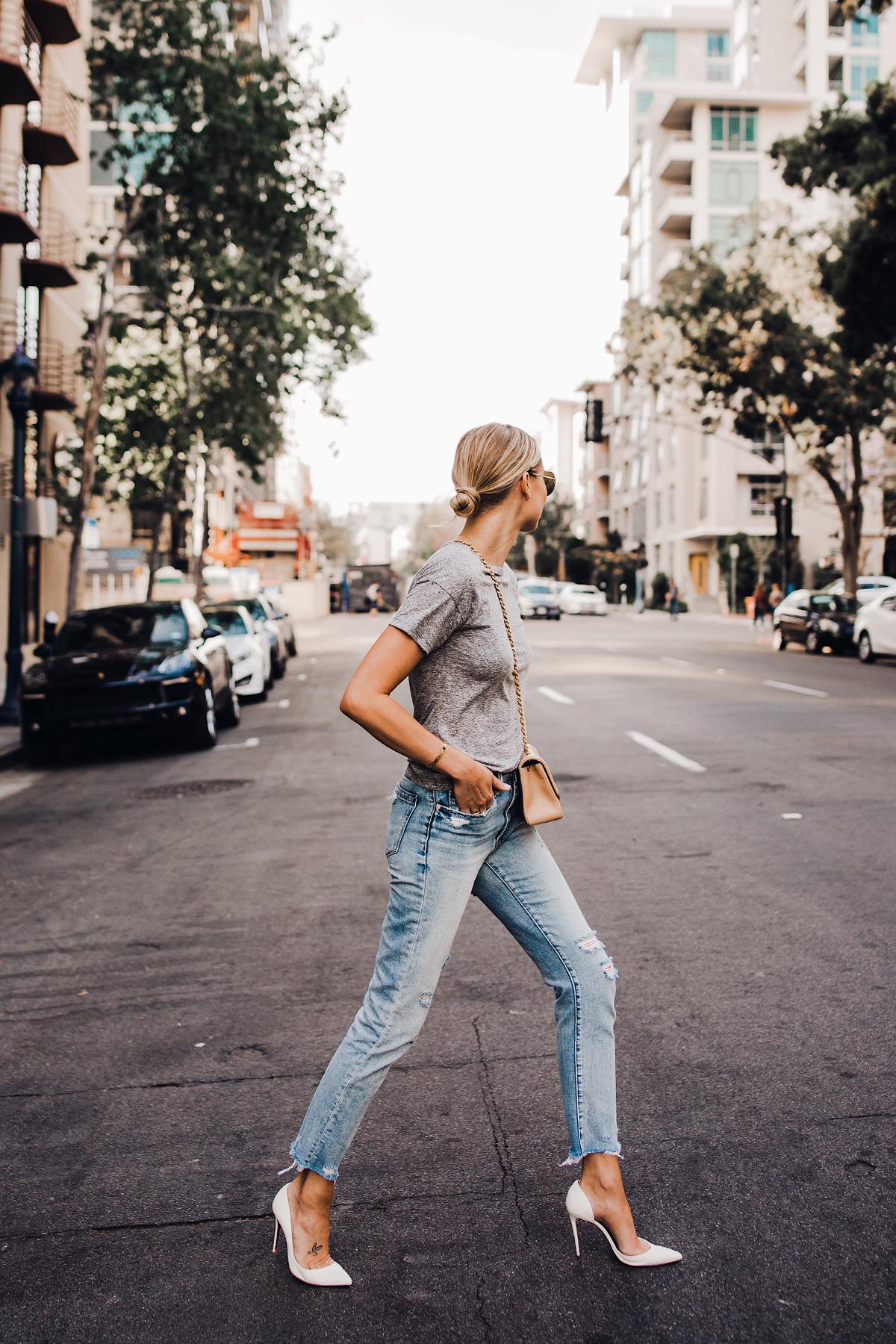 Blonde Woman Wearing Topshop Grey Tshirt Blanknyc Ripped Jeans Christian Louboutin White Pumps Fashion Jackson San Diego Blogger Fashion Blogger Street Style