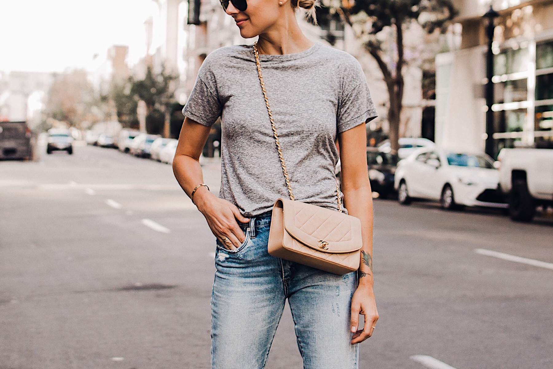 Woman Wearing Topshop Grey Tshirt Ripped Jeans Chanel Quilted Tan Handbag Fashion Jackson San Diego Blogger Fashion Blogger Street Style