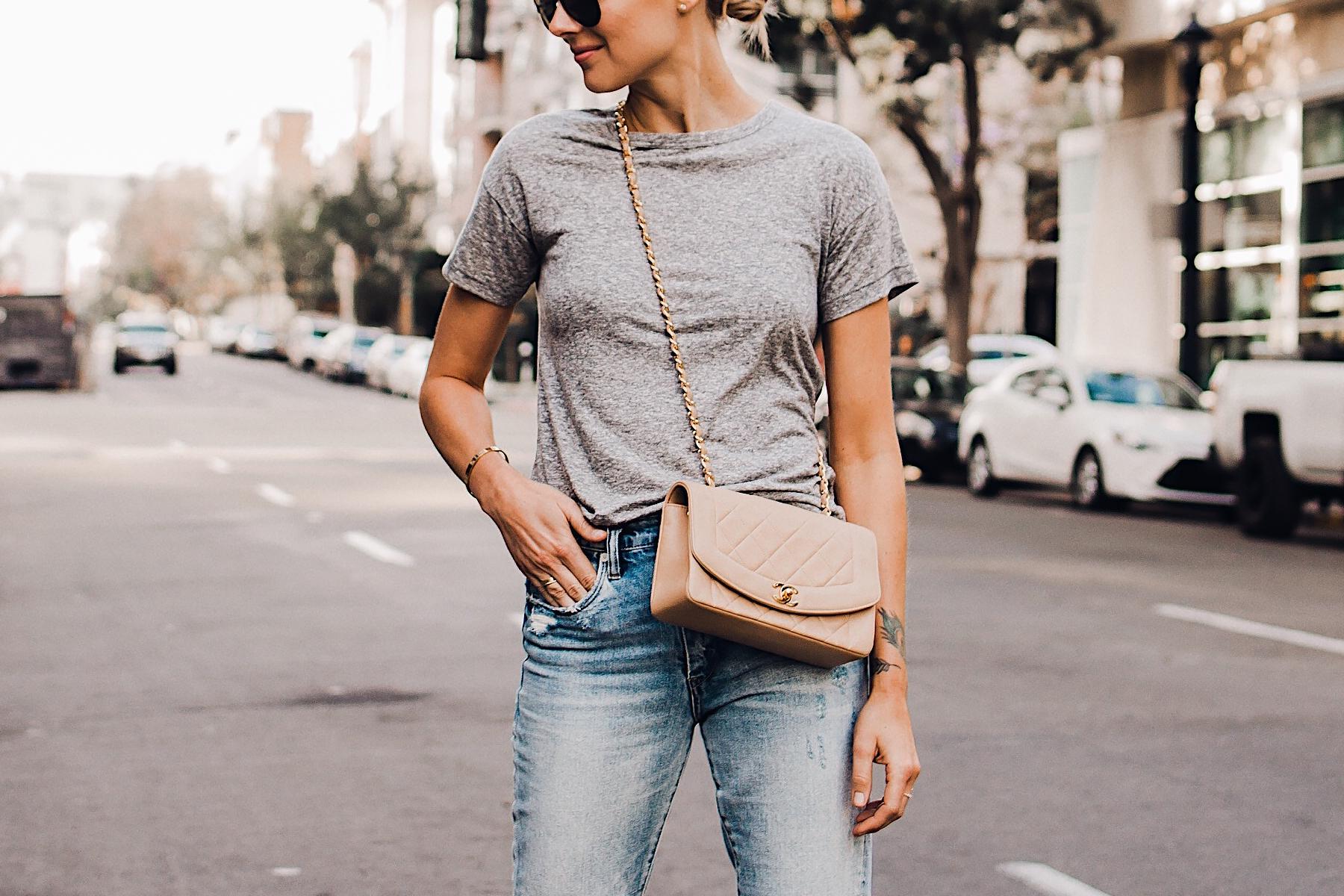 Woman Wearing Topshop Grey Tshirt Ripped Jeans Chanel Quilted Tan Handbag Fashion Jackson San Diego Blogger Fashion Blogger Street Style