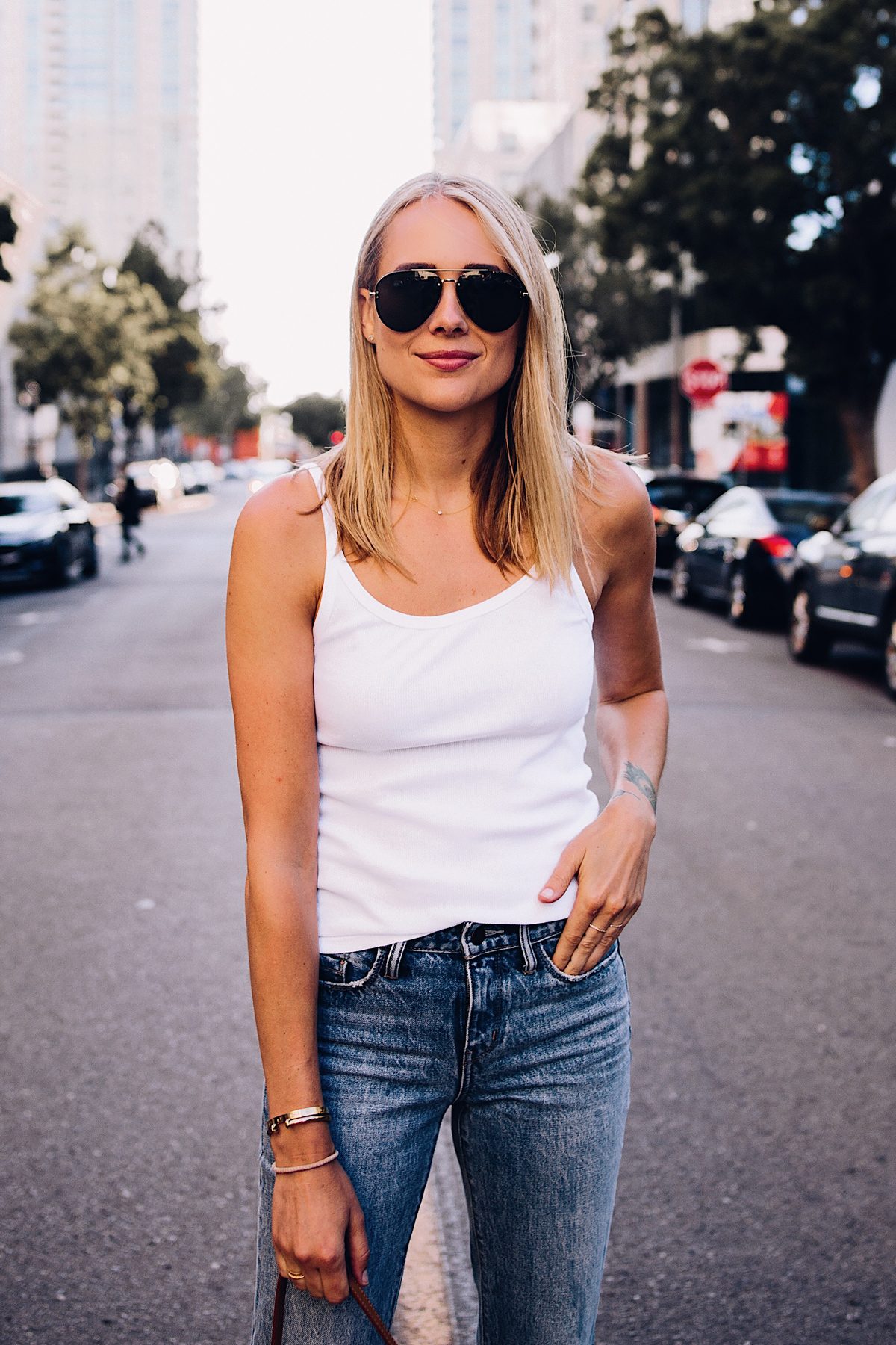 Blonde Woman Wearing Topshop White Rib Camisole Nordstrom Ripped Ankle Crop Jeans Aviator Sunglasses Fashion Jackson San Diego Blogger Fashion Blogger Street Style