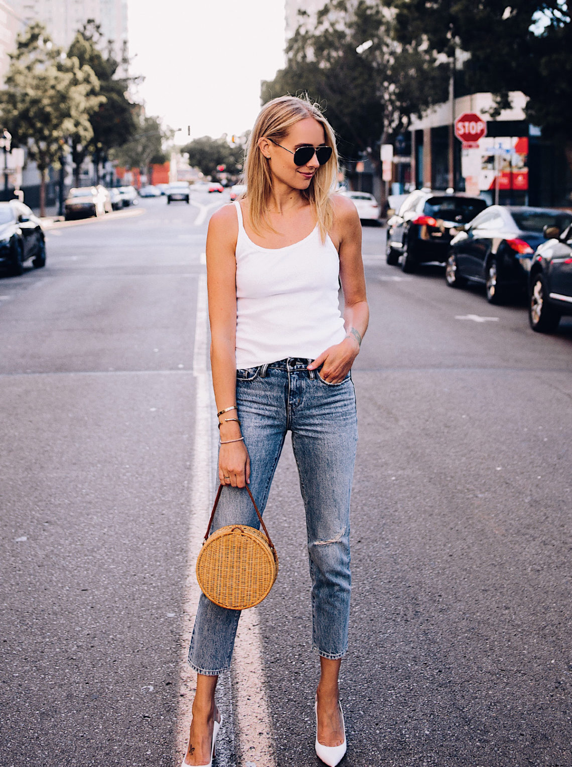 Blonde Woman Wearing Topshop White Rib Camisole Nordstrom Ripped Ankle Crop Jeans Gianvito Rossi White Pumps Circle Basket Bag Aviator Sunglasses Fashion Jackson San Diego Blogger Fashion Blogger Street Style