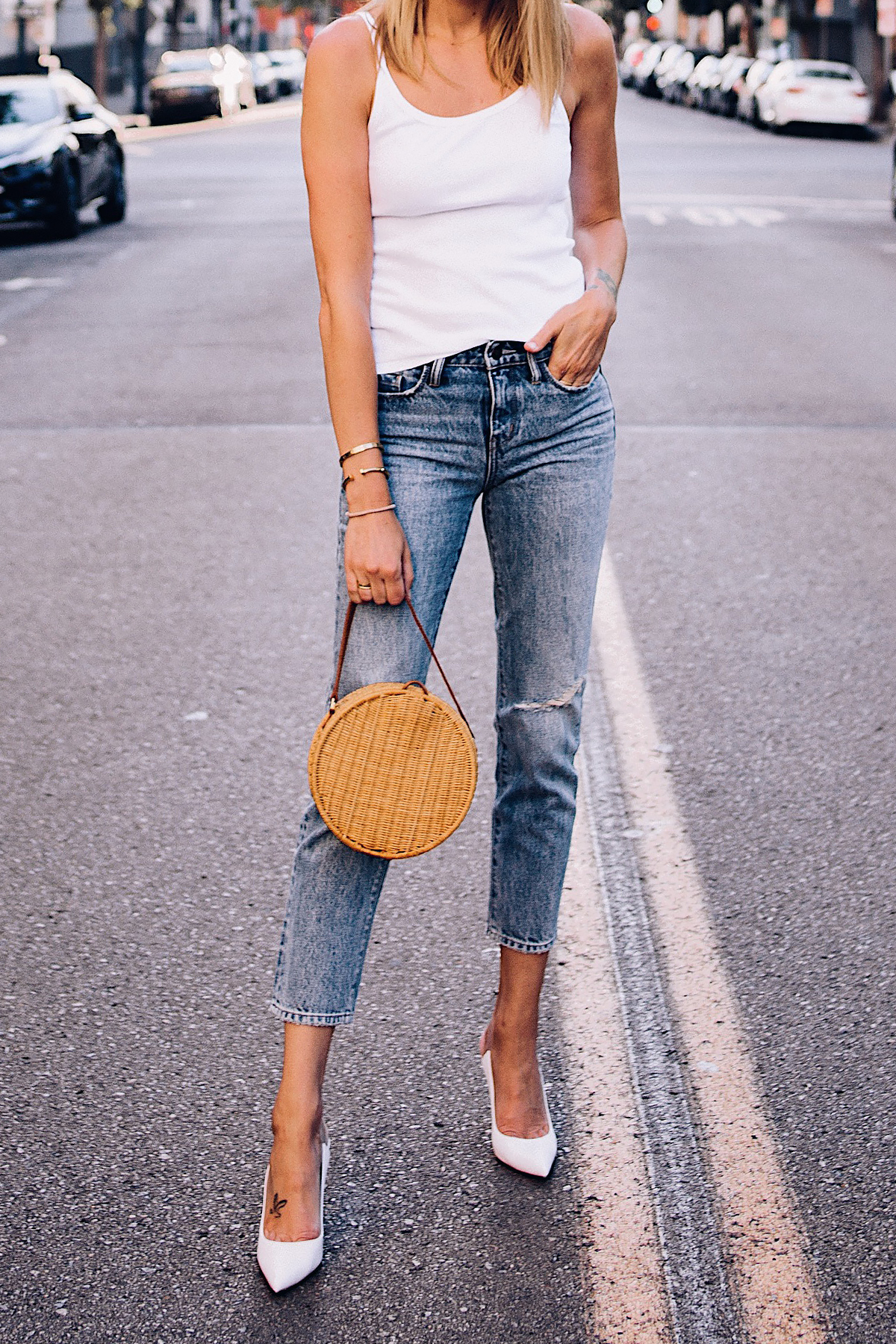 Woman Wearing Fashion Jackson Topshop White Rib Camisole Nordstrom Ripped Ankle Crop Jeans Gianvito Rossi White Pumps Circle Basket Bag Fashion Jackson San Diego Blogger Fashion Blogger Street Style