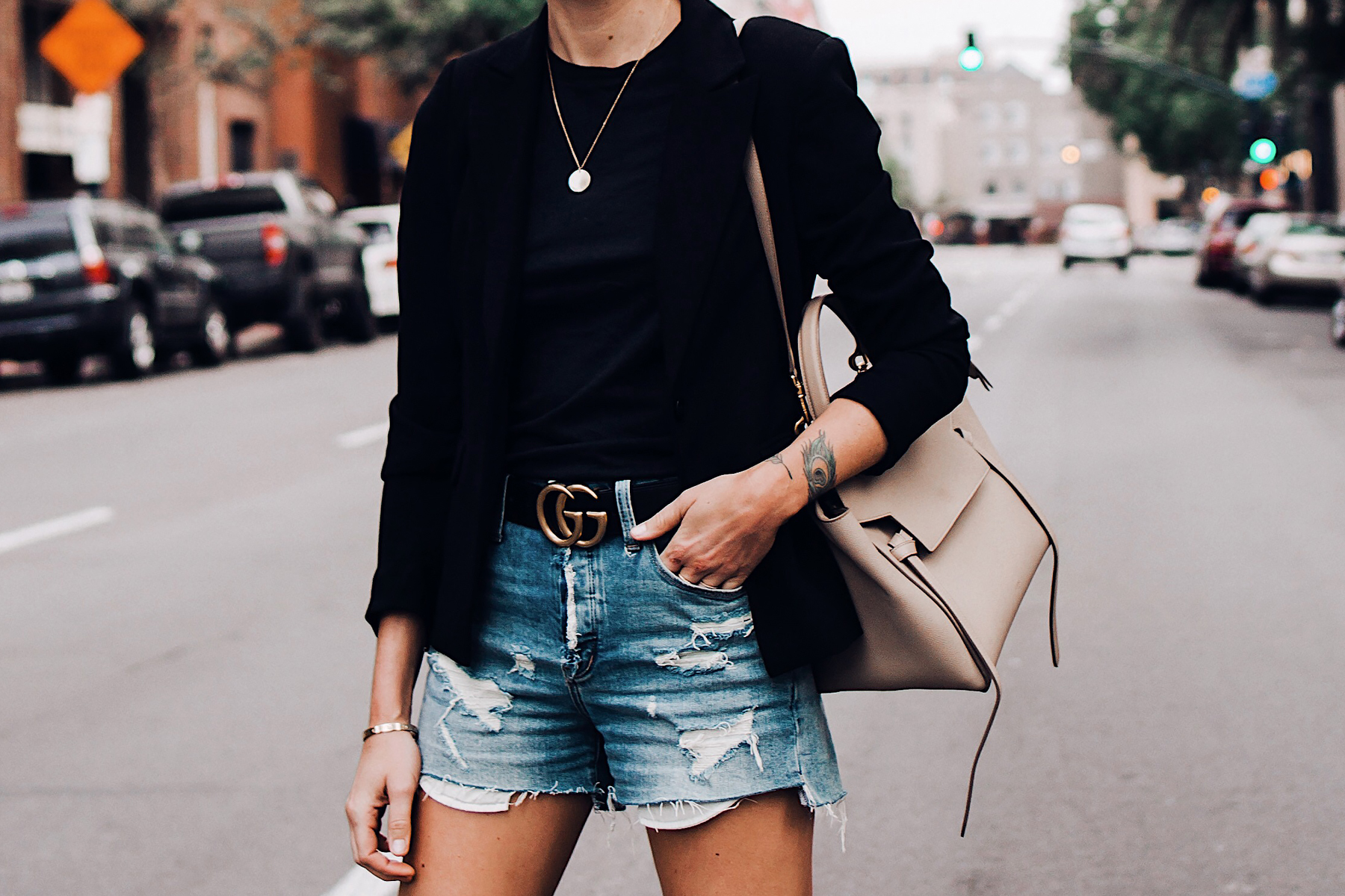 Woman Wearing Black Blazer Black Tshirt Denim Ripped Shorts Gucci Logo Belt Celine Mini Belt Bag Fashion Jackson San Diego Blogger Fashion Blogger Street Style