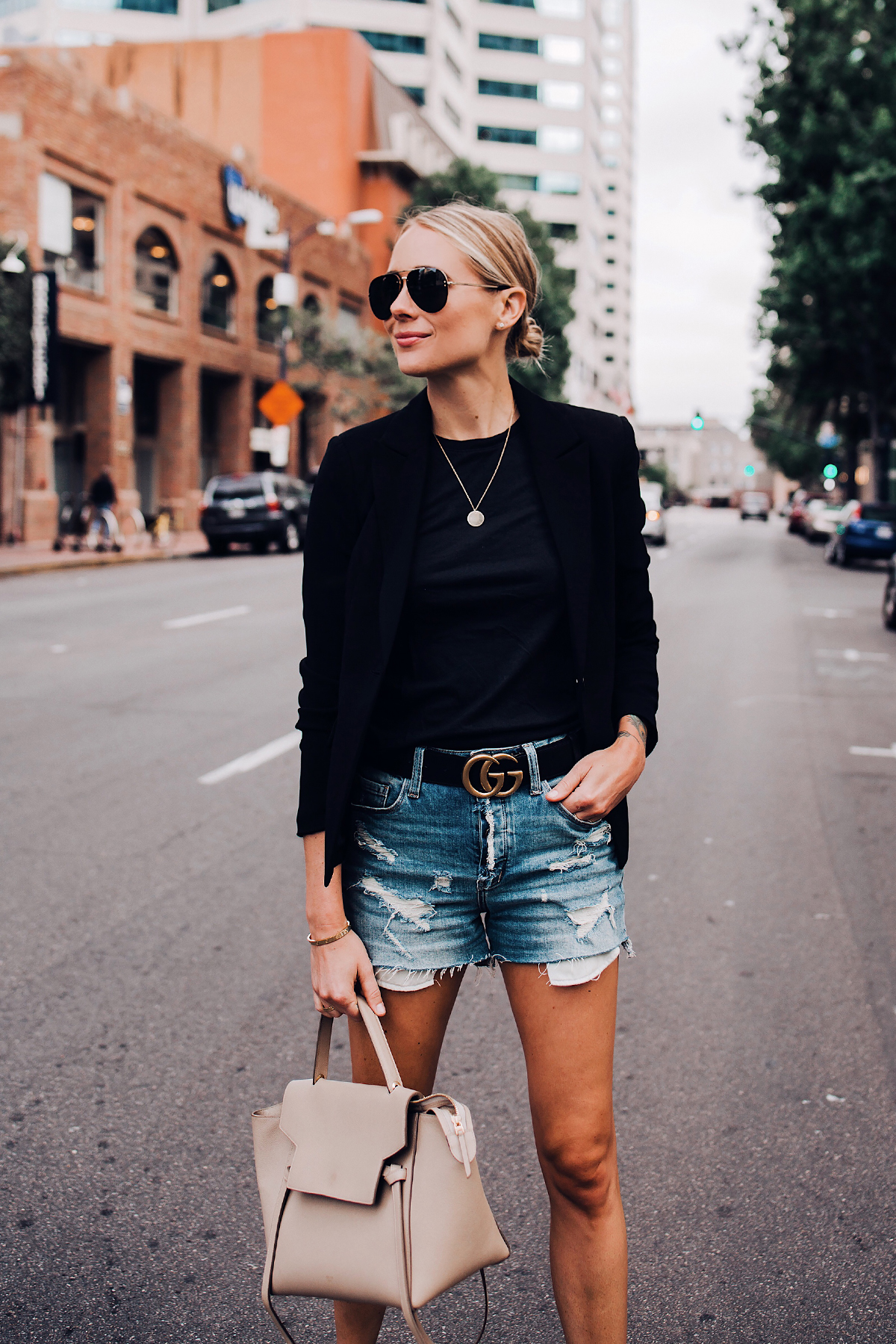 Blonde Woman Wearing Black Blazer Black Tshirt Denim Ripped Shorts Gucci Logo Belt Celine Mini Belt Bag Aviator Sunglasses Fashion Jackson San Diego Blogger Fashion Blogger Street Style