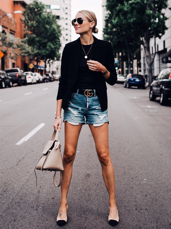 Blonde Woman Wearing Black Blazer Black Tshirt Denim Ripped Shorts Gucci Logo Belt Chanel Slingbacks Celine Mini Belt Bag Aviator Sunglasses Fashion Jackson San Diego Blogger Fashion Blogger Street Style