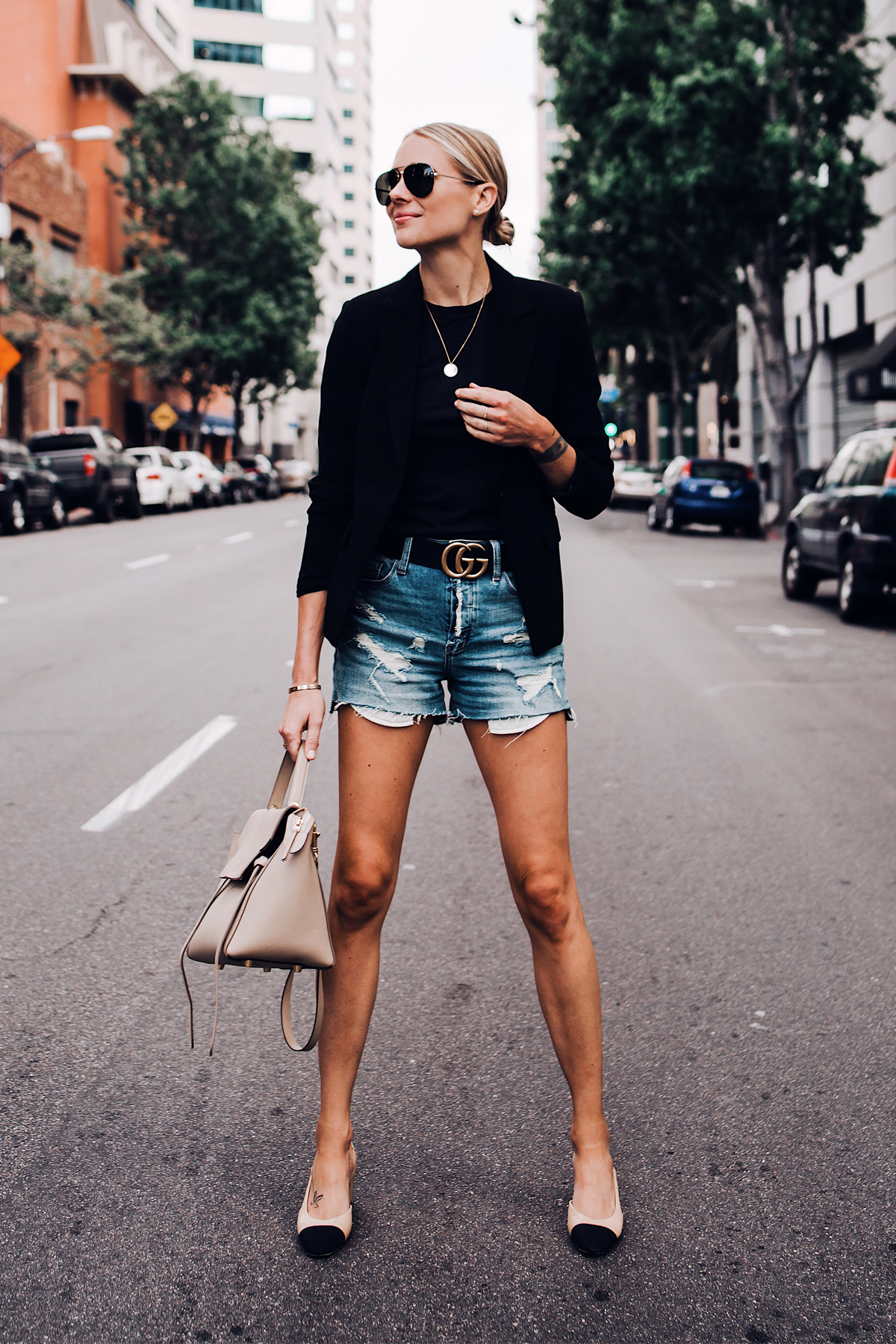 Blonde Woman Wearing Black Blazer Black Tshirt Denim Ripped Shorts Gucci Logo Belt Chanel Slingbacks Celine Mini Belt Bag Aviator Sunglasses Fashion Jackson San Diego Blogger Fashion Blogger Street Style