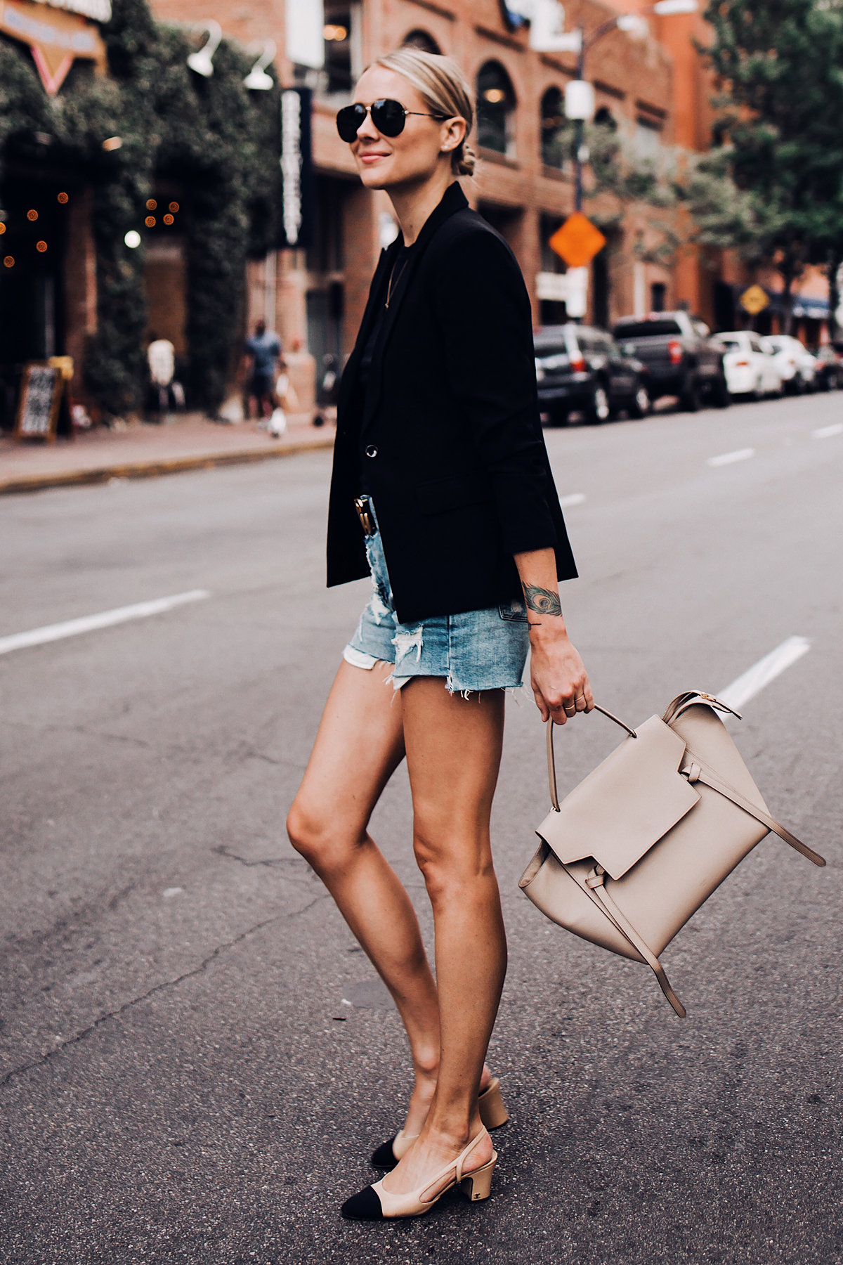 Blonde Woman Wearing Black Blazer Denim Ripped Shorts Chanel Slingbacks Celine Mini Belt Bag Aviator Sunglasses Fashion Jackson San Diego Blogger Fashion Blogger Street Style