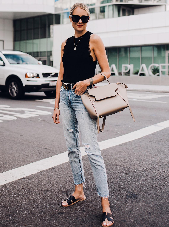 Blonde Woman Wearing Black Sweater Tank Lace Bralette Gucci Logo Belt Ripped Denim Jeans Black Steven Greece Sandals Celine Mini Belt Bag Fashion Jackson San Diego Fashion Blogger Street Style