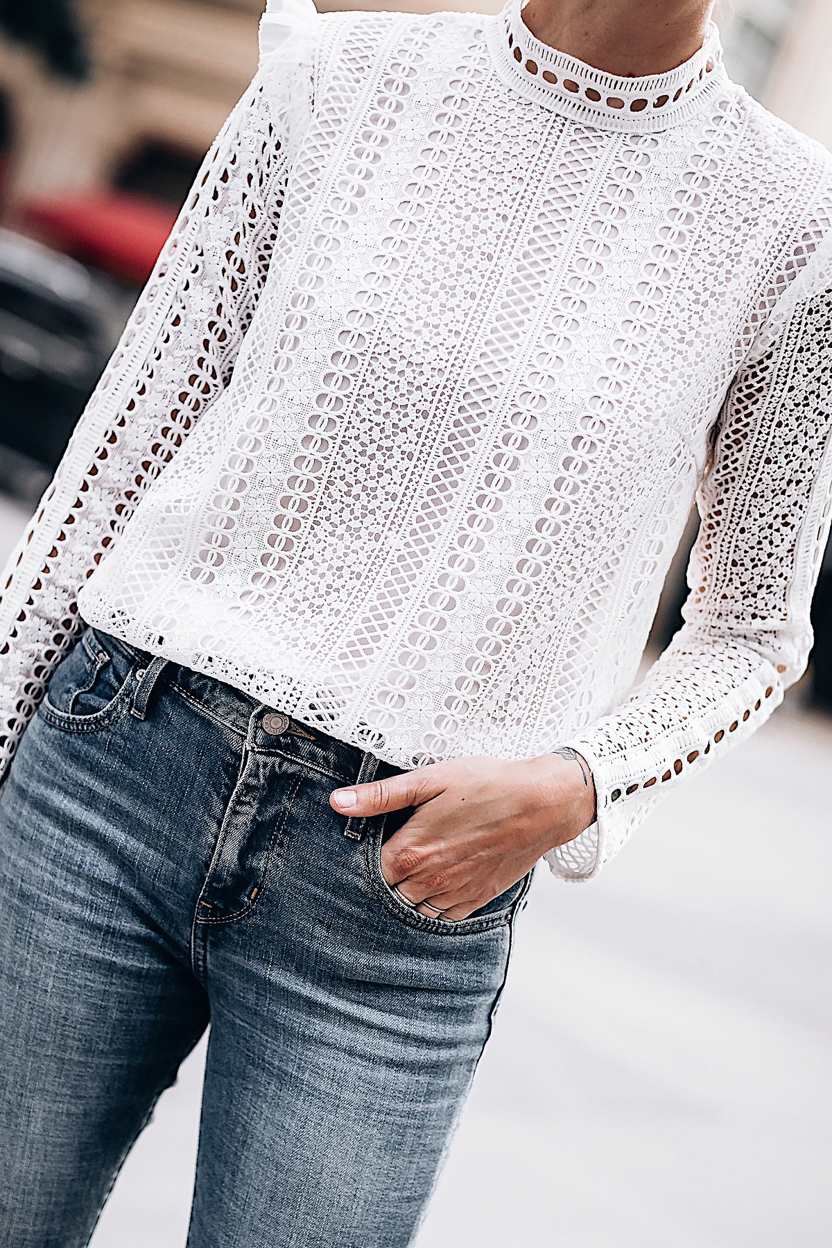 Woman Wearing Fashion Jackson Bloomingdales AQUA White Lace Ruffle Top Skinny Jeans Fashion Jackson San Diego Fashion Blogger Street Style