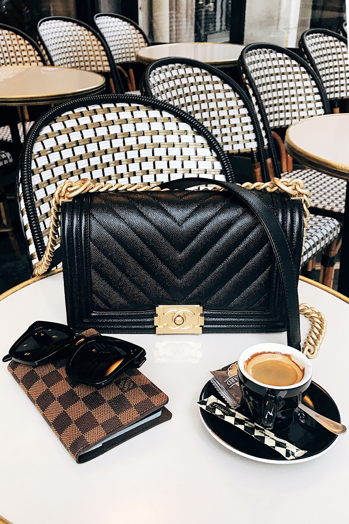 Paris Cafe Chanel Boy Bag Black Chevron Celine Sunglasses Louis Vuitton Passport Holder