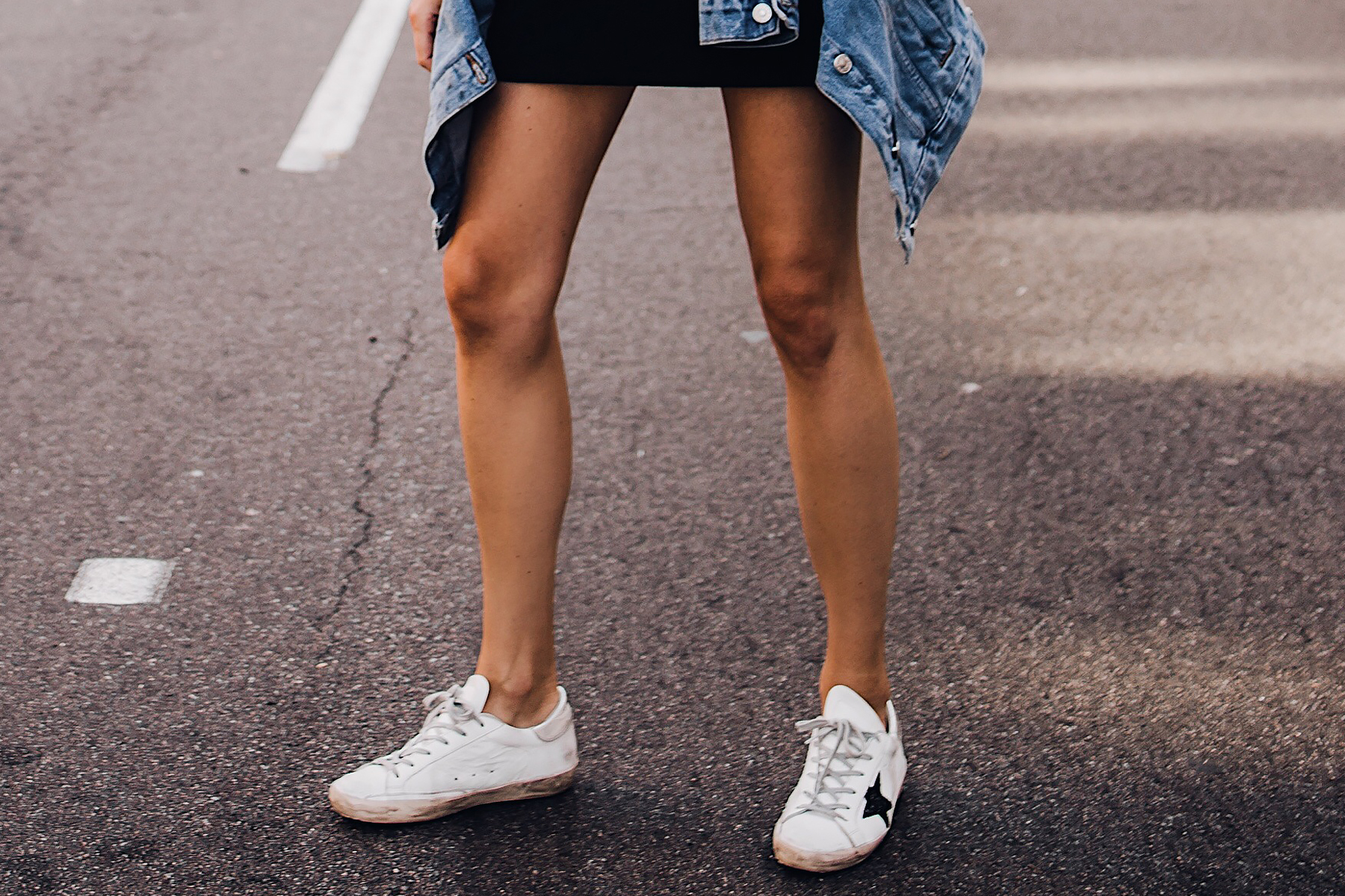 Woman Wearing Golden Goose Delux Brand Sneakers Fashion Jackson San Diego Fashion Blogger Street Style