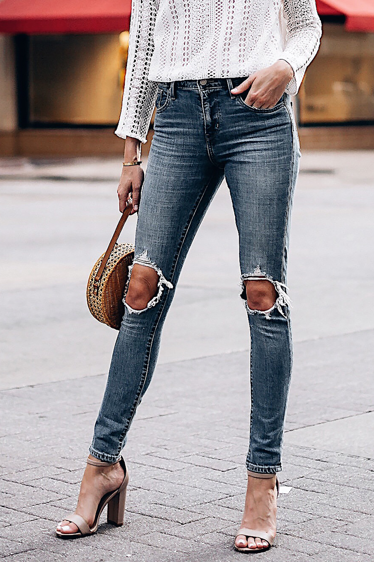 Woman Wearing Fashion Jackson Levis 721 Denim Ripped Skinny Jeans Tan Ankle Strap Heeled Sandals Fashion Jackson San Diego Fashion Blogger Street Style