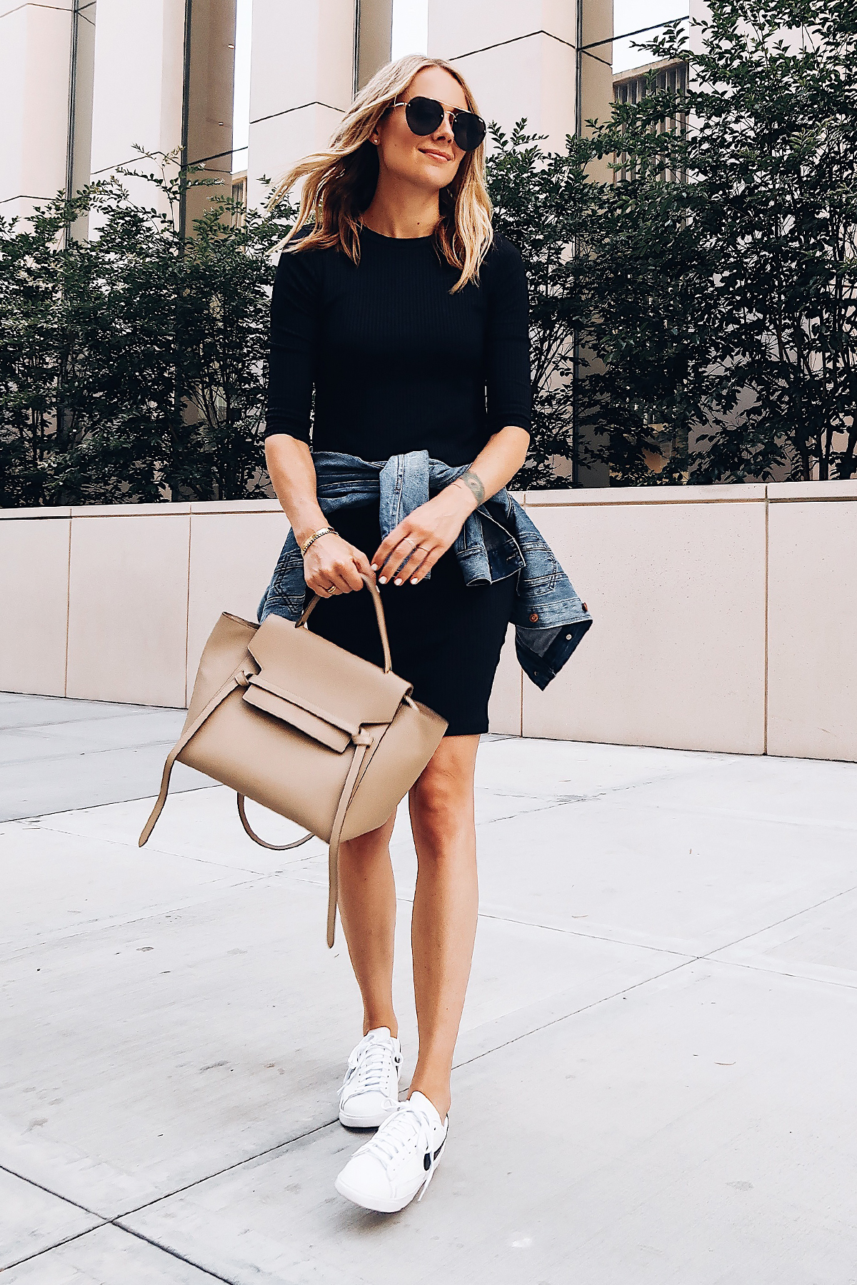Blonde Woman Wearing Little Black Dress Denim Jacket White Nike Blazer Sneakers Celine Mini Belt Bag