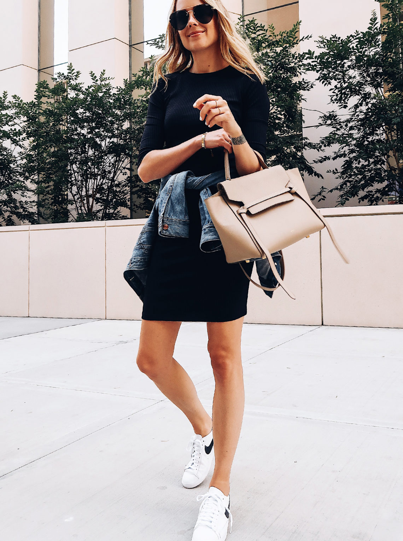 Blonde Woman Wearing Little Black Dress Denim Jacket White Nike Blazer Sneakers Celine Mini Belt Bag Aviator Sunglasses Fashion Jackson San Diego Blogger Fashion Blogger Street Style