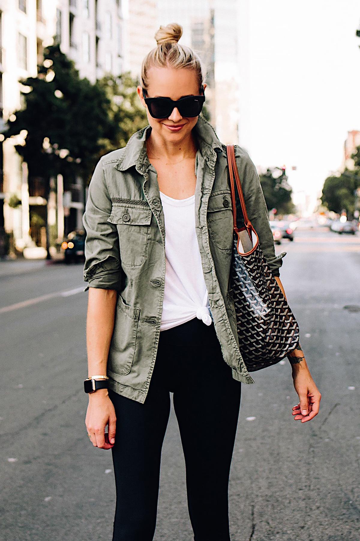 Blonde Woman Wearing Nordstrom Green Utility Jacket White Tshirt Black Leggings Goyard Large Tote Fashion Jackson San Diego Fashion Blogger Street Style