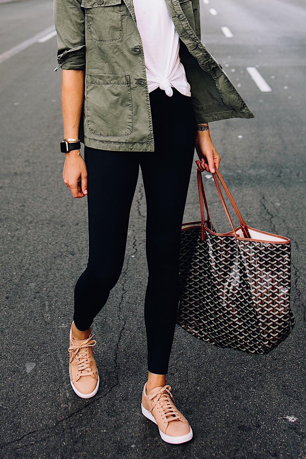 Woman Wearing Nordstrom Green Utility Jacket White Tshirt Black Leggings Nike Sneakers Beige Goyard Large Tote Fashion Jackson San Diego Fashion Blogger Street Style