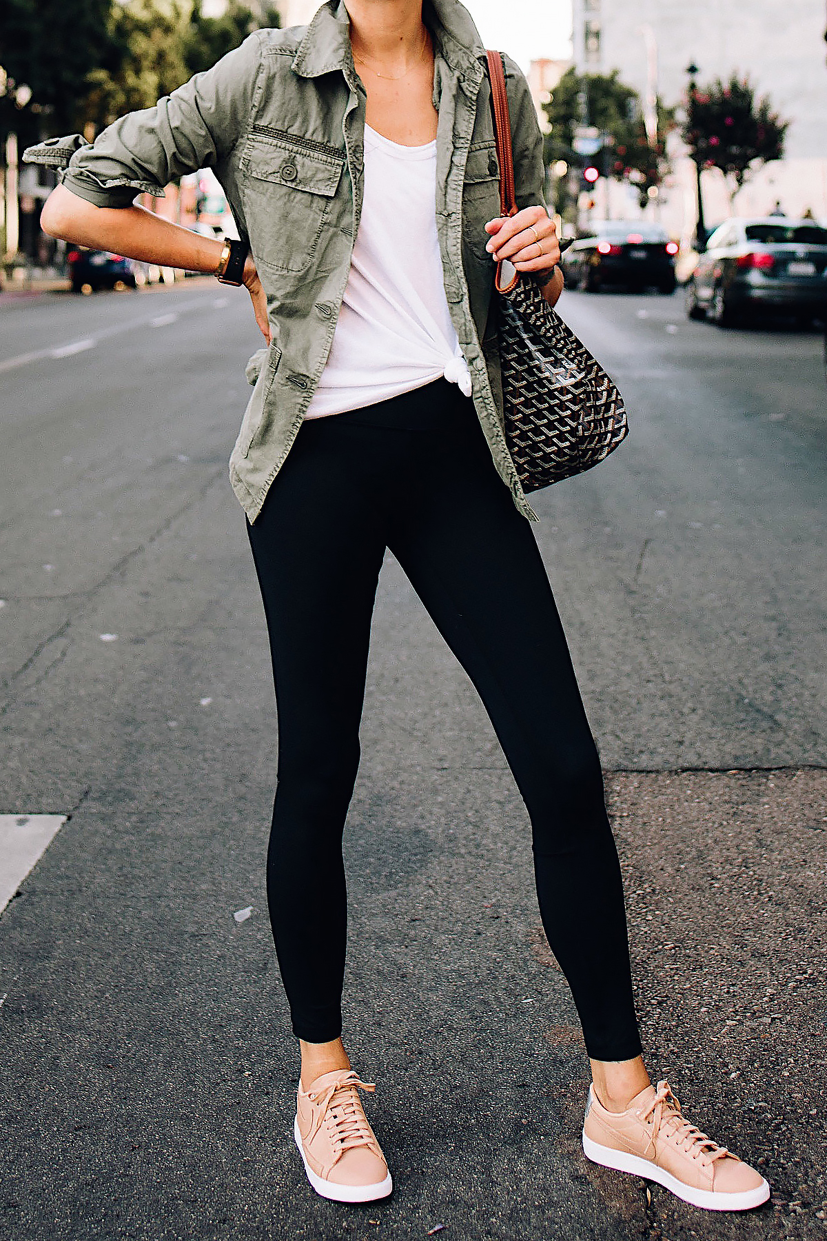 Woman Wearing Nordstrom Green Utility Jacket White Tshirt Black Leggings  Nike Sneakers Beige Goyard Large Tote 9aacc865fed4