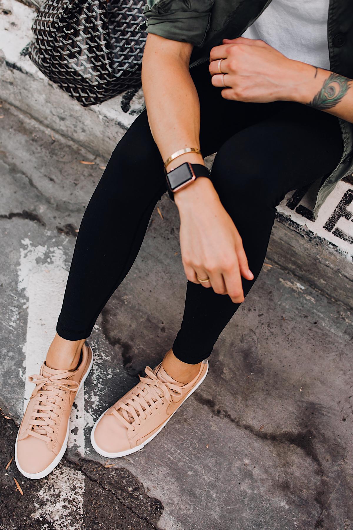 Woman Wearing Nordstrom Nike Blazer Low Top Sneaker Beige Black Leggings Goyard Tote Apple Watch Fashion Jackson San Diego Fashion Blogger Street Style