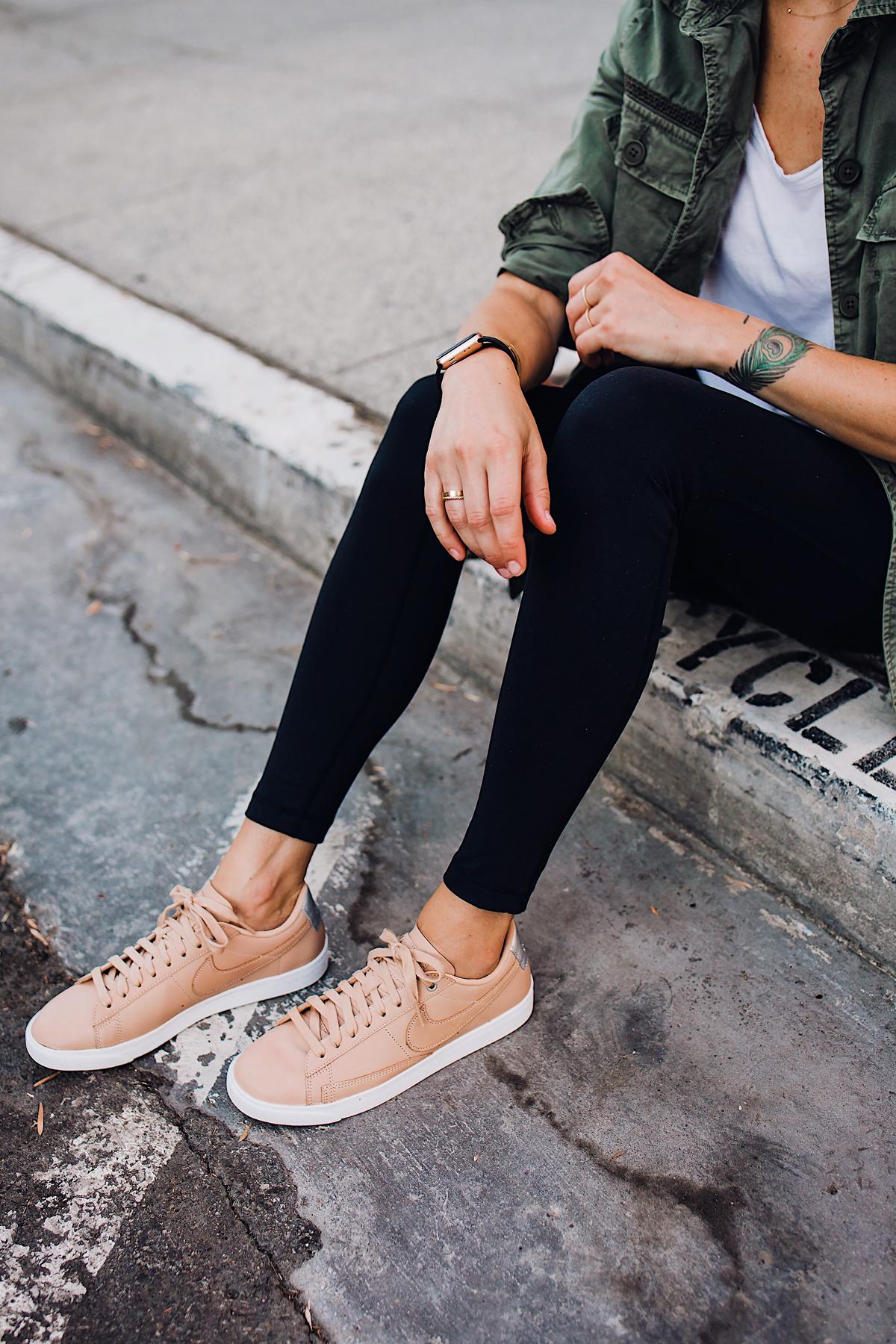 Woman Wearing Nordstrom Nike Blazer Low Top Sneaker Beige Black Leggings Green Utility Jacket White Tshirt Fashion Jackson San Diego Fashion Blogger Street Style