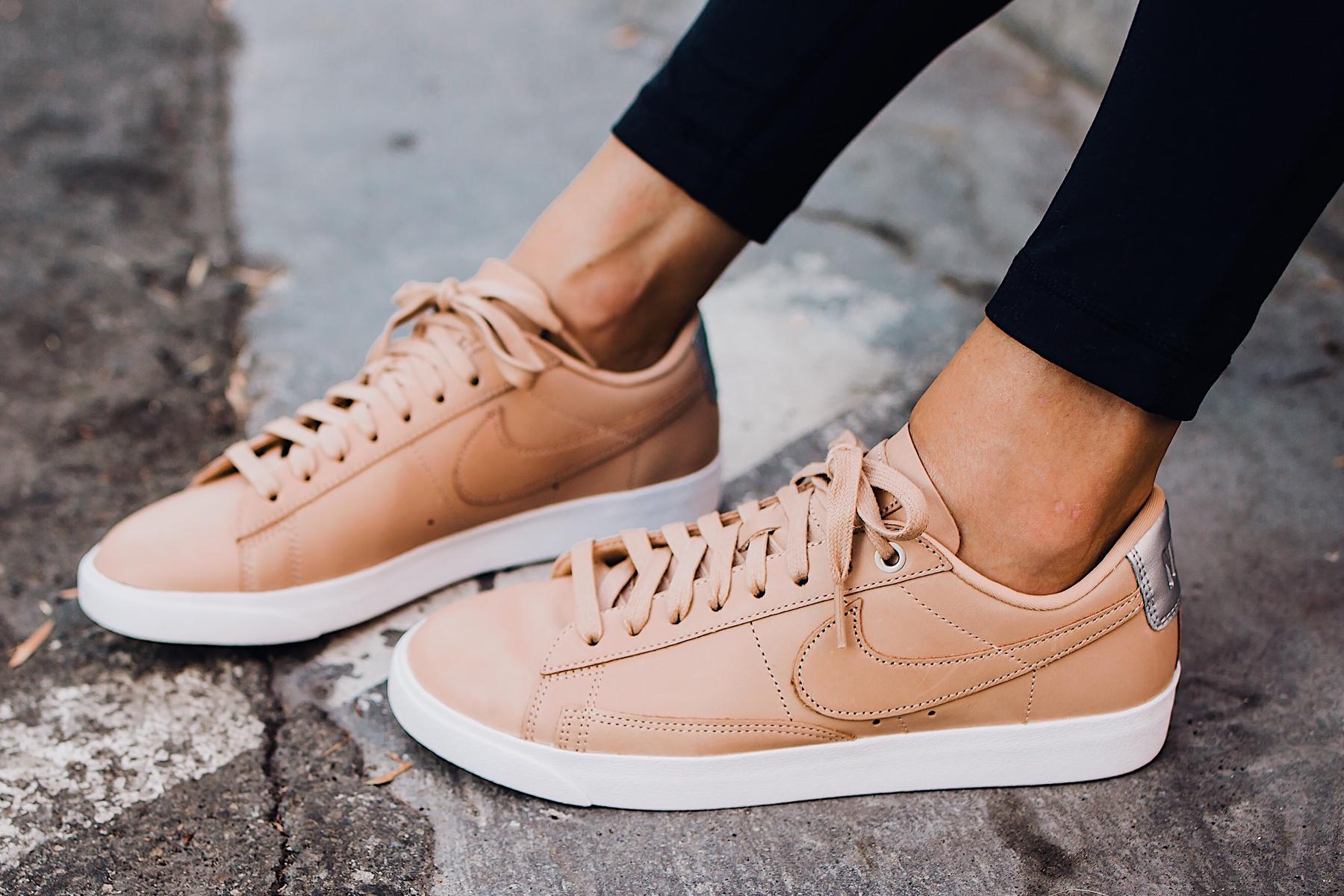 Woman Wearing Nordstrom Nike Blazer Low Top Sneaker Beige Fashion Jackson San Diego Fashion Blogger Street Style