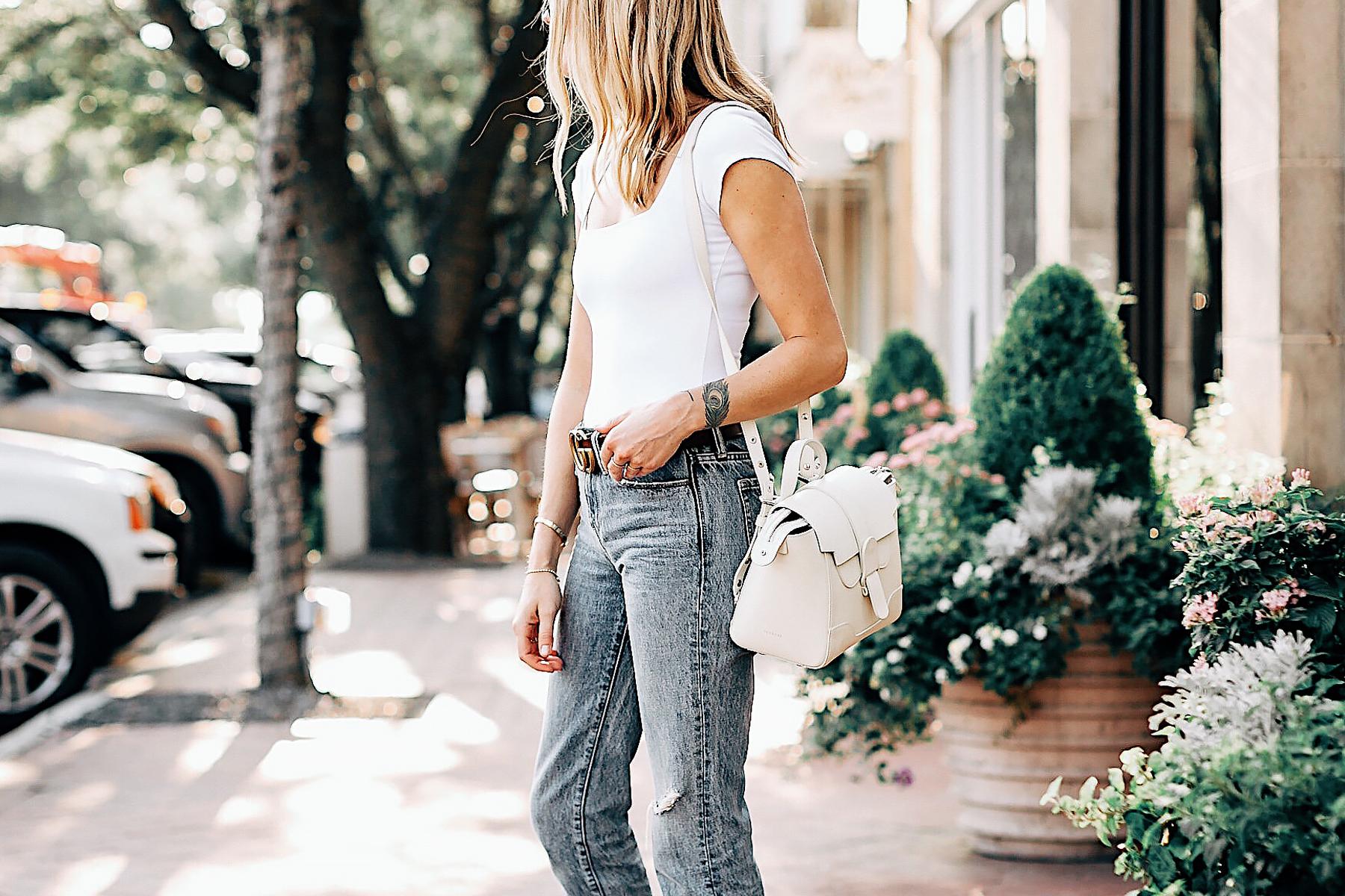 Blonde Woman Wearing Senreve Mini Maestra Cream Free People White Bodysuit Ripped Jeans Gucci Brown Double G Leather Belt Fashion Jackson San Diego Fashion Blogger Street Style