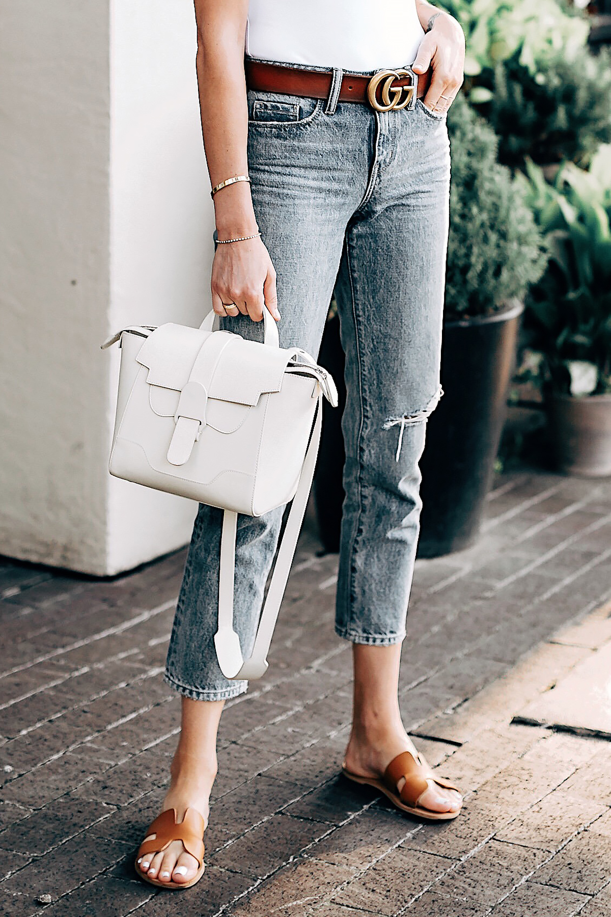 Woman Wearing Senreve Mini Maestra Cream Nordstrom Cropped Ripped Jeans Gucci Brown Leather Double G Belt Steven Greece Slides Fashion Jackson San Diego Fashion Blogger Street Style
