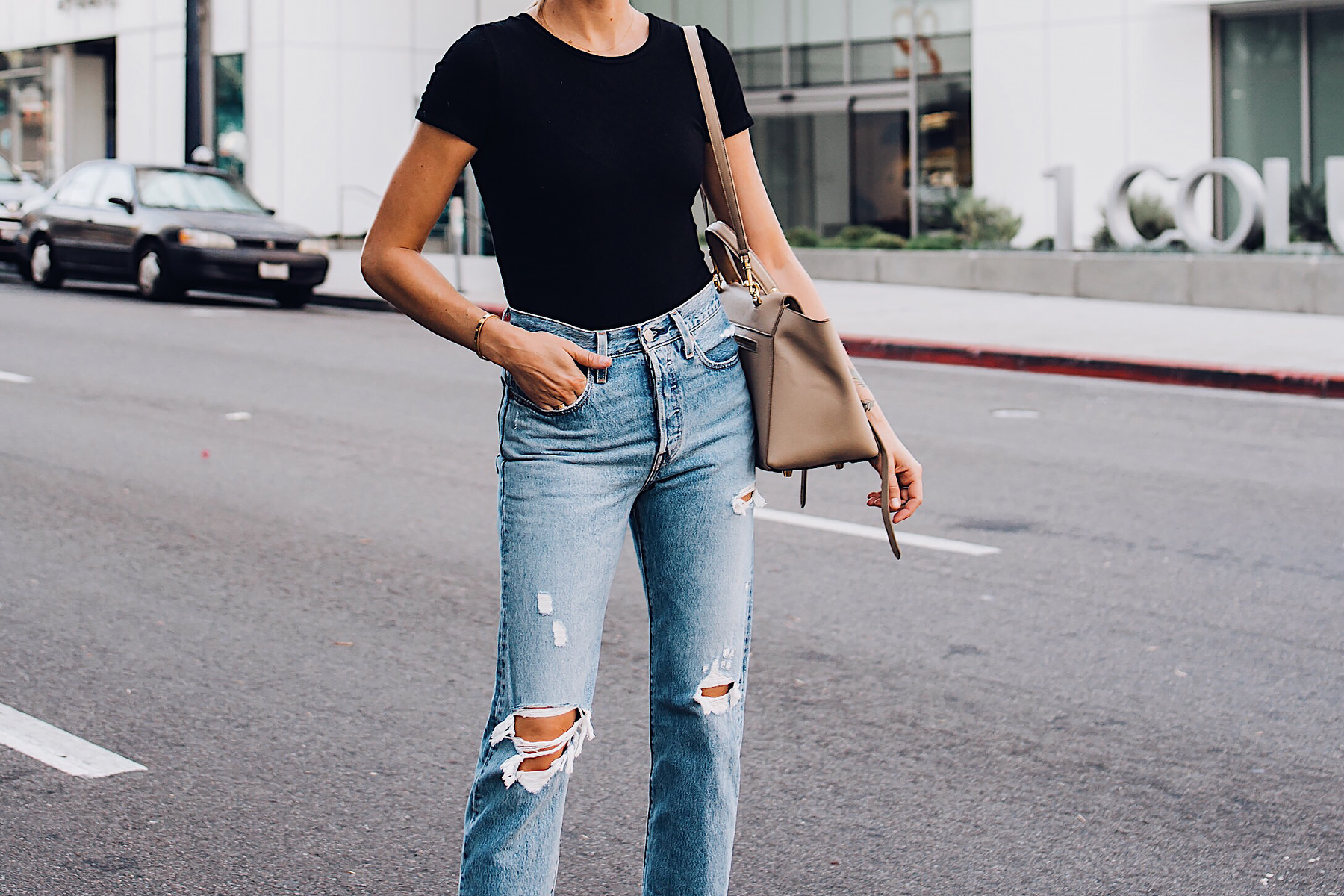 Woman Wearing Short Sleeve Black Bodysuit Levis Wedgie Straight Leg Ripped Jeans Fashion Jackson San Diego Fashion Blogger Street Style