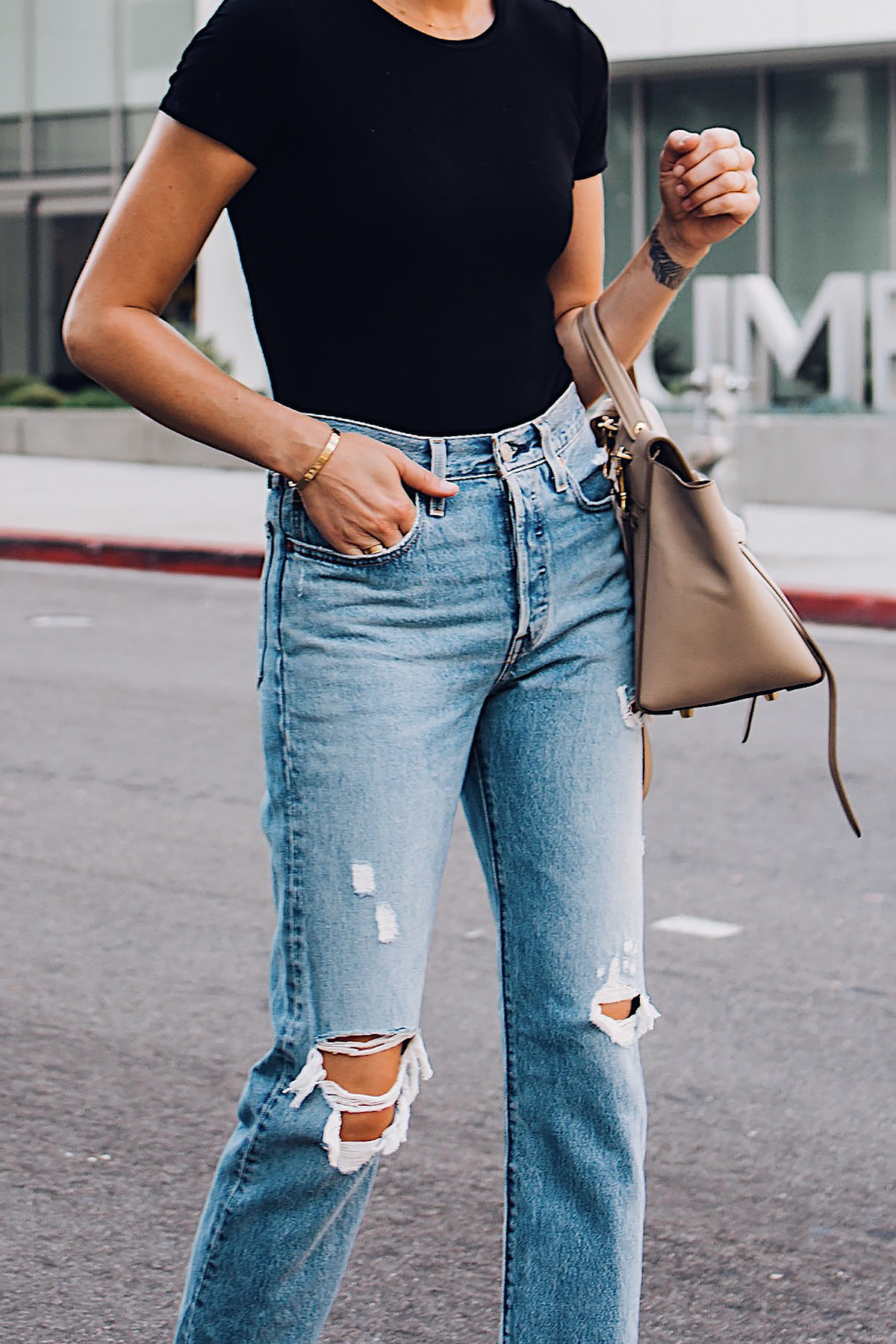 Woman Wearing Fashion Jackson Short Sleeve Black Bodysuit Levis Wedgie Straight Leg Ripped Jeans Fashion Jackson San Diego Fashion Blogger Street Style