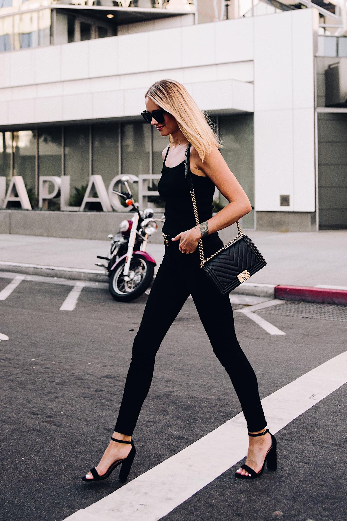 Blonde Woman Wearing Topshop Black Tank Black Skinny Jeans Black Ankle Strap Heeled Sandals Chanel Boy Bag BlackFashion Jackson San Diego Blogger Fashion Blogger Street Style