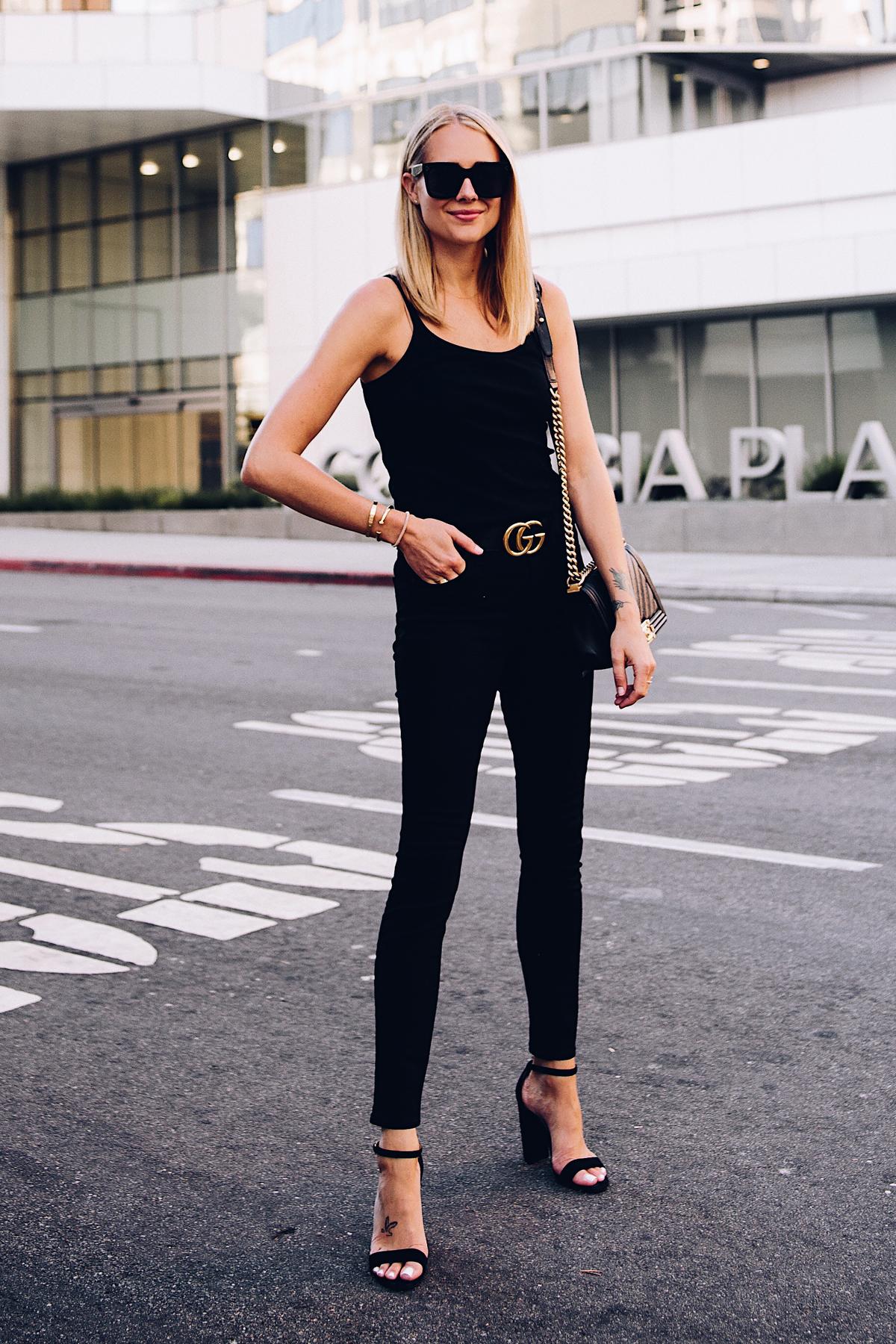 Blonde Woman Wearing Topshop Black Tank Black Skinny Jeans Black Ankle Strap Heeled Sandals Gucci Logo Belt Chanel Boy Bag BlackFashion Jackson San Diego Blogger Fashion Blogger Street Style