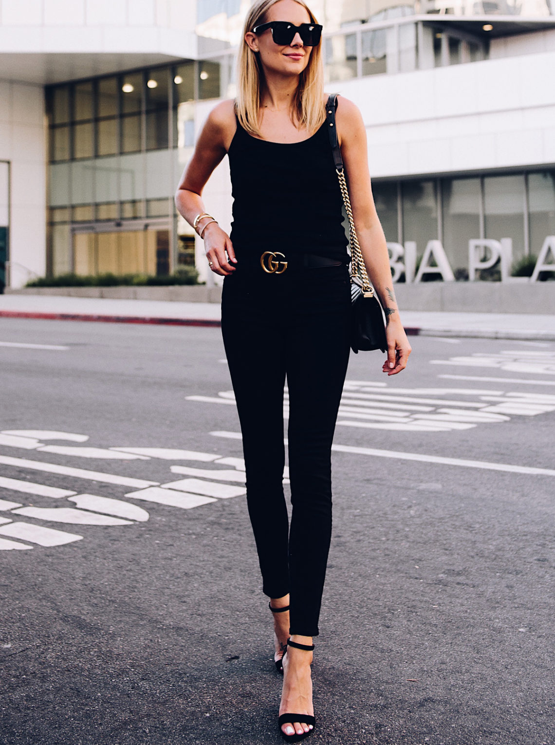 Blonde Woman Wearing Topshop Black Tank Black Skinny Jeans Black Ankle Strap Heeled Sandals Gucci Logo Belt Chanel Boy Bag Black Fashion Jackson San Diego Blogger Fashion Blogger Street Style