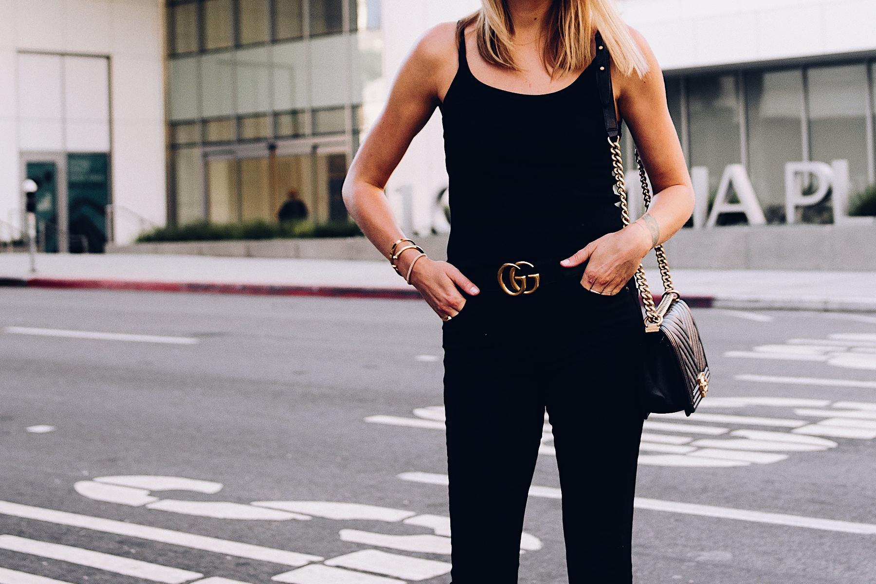 Woman Wearing Topshop Black Tank Black Skinny Jeans Gucci Logo Belt Chanel Boy Bag Black Fashion Jackson San Diego Blogger Fashion Blogger Street Style