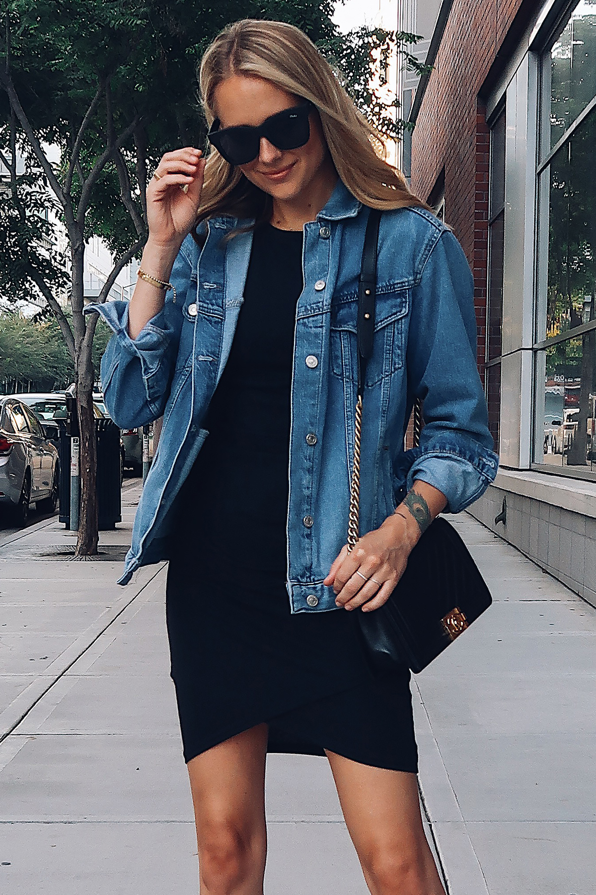 Blonde Woman Wearing Topshop Oversized Denim Jacket Black Wrap Dress Chanel Black Boy Bag Fashion Jackson San Diego Fashion Blogger Street Style