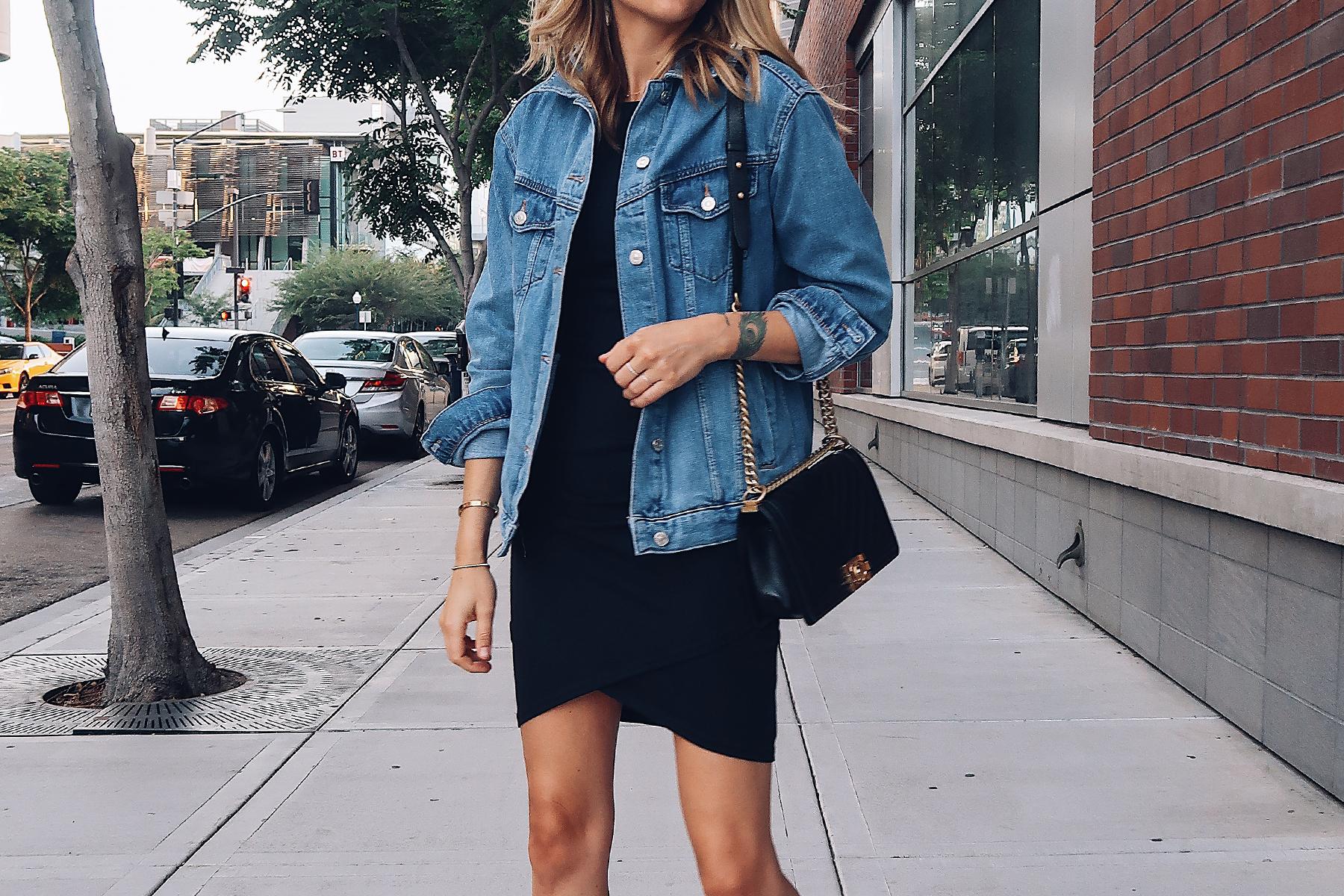 Blonde Woman Wearing Fashion Jackson Topshop Oversized Denim Jacket Black Wrap Dress Chanel Black Boy Bag Fashion Jackson San Diego Fashion Blogger Street Style