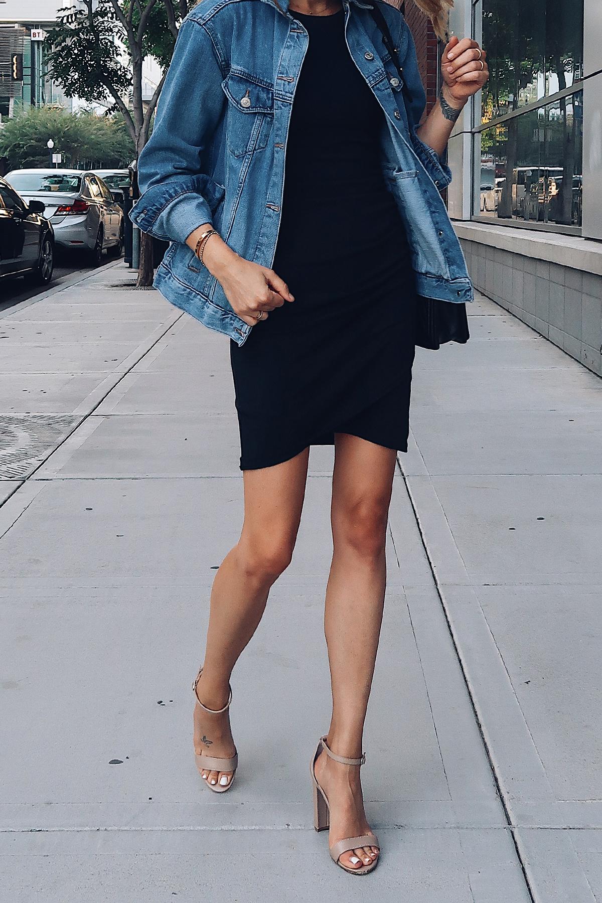Woman Wearing Topshop Oversized Denim Jacket Black Wrap Dress Steve Madden Nude Ankle Strap Heeled Sandals Fashion Jackson San Diego Fashion Blogger Street Style